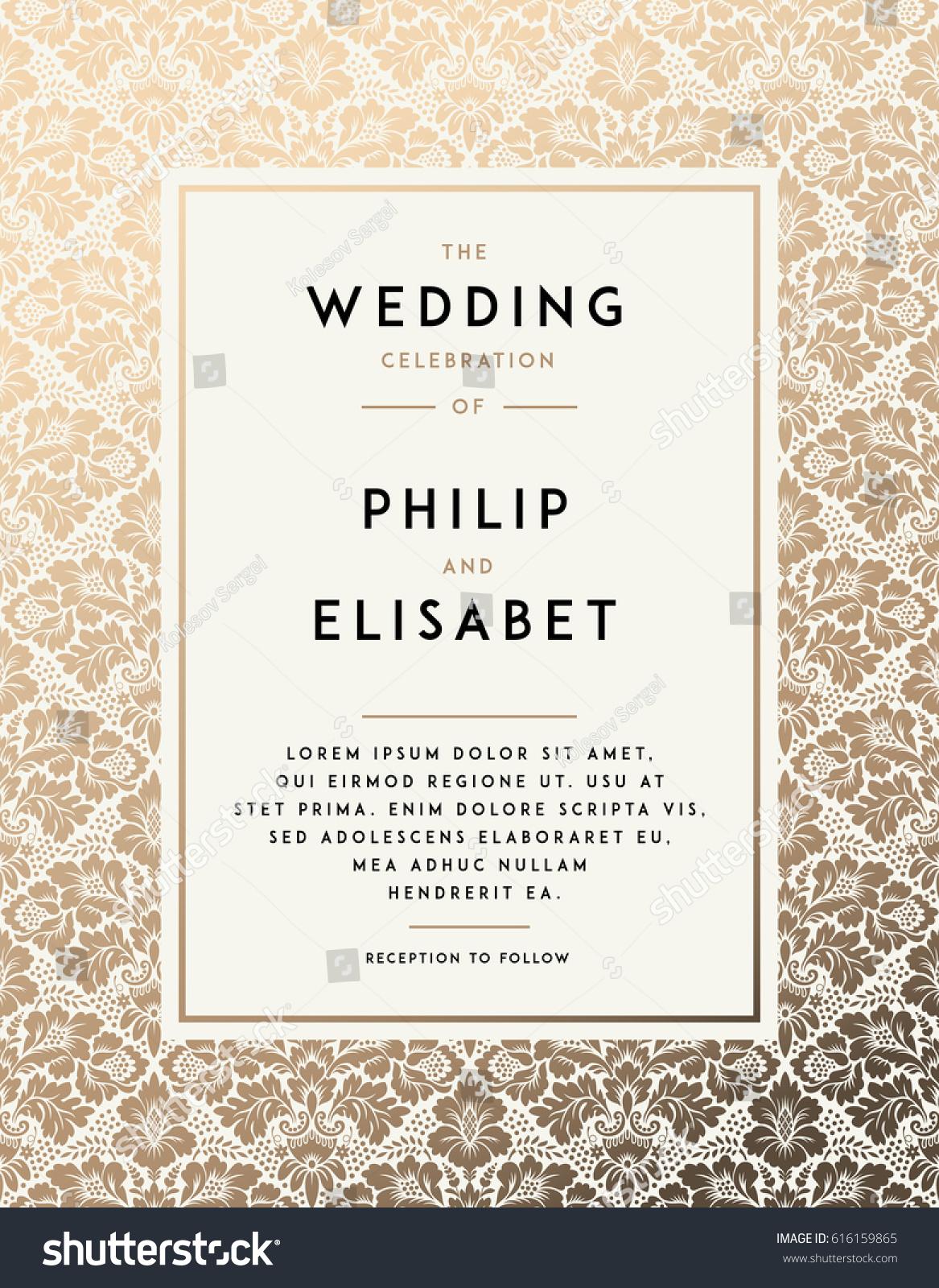 Vintage Wedding Invitation Design Template Damask Stock Vector HD ...
