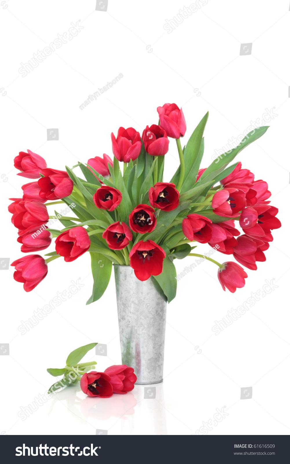 Red Tulip Flower Arrangement Distressed Aluminum Stock Photo 61616509  Shutterstock