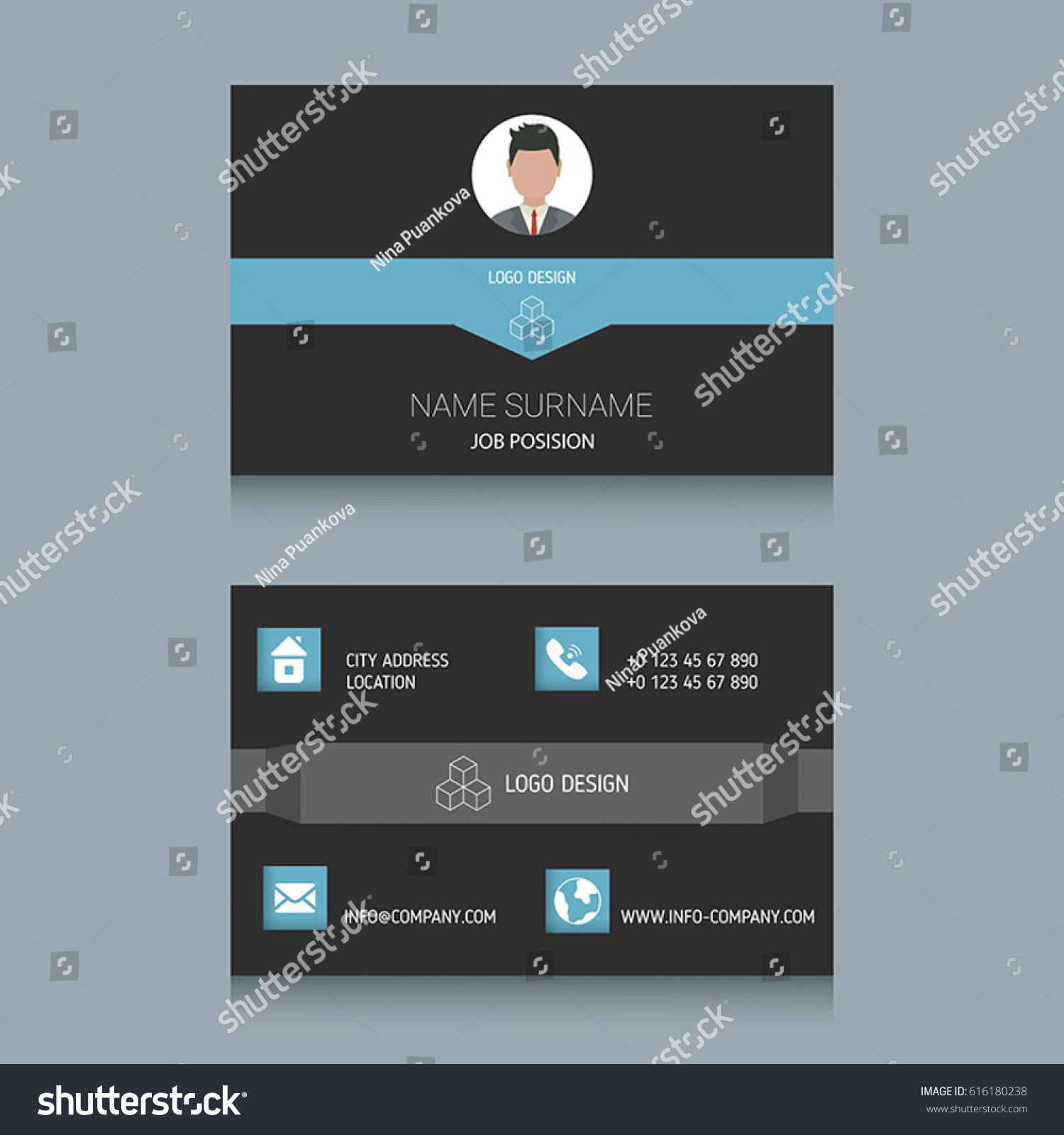 Business Card Designs Easy Adapt Business Stock Vector 616180238 ...