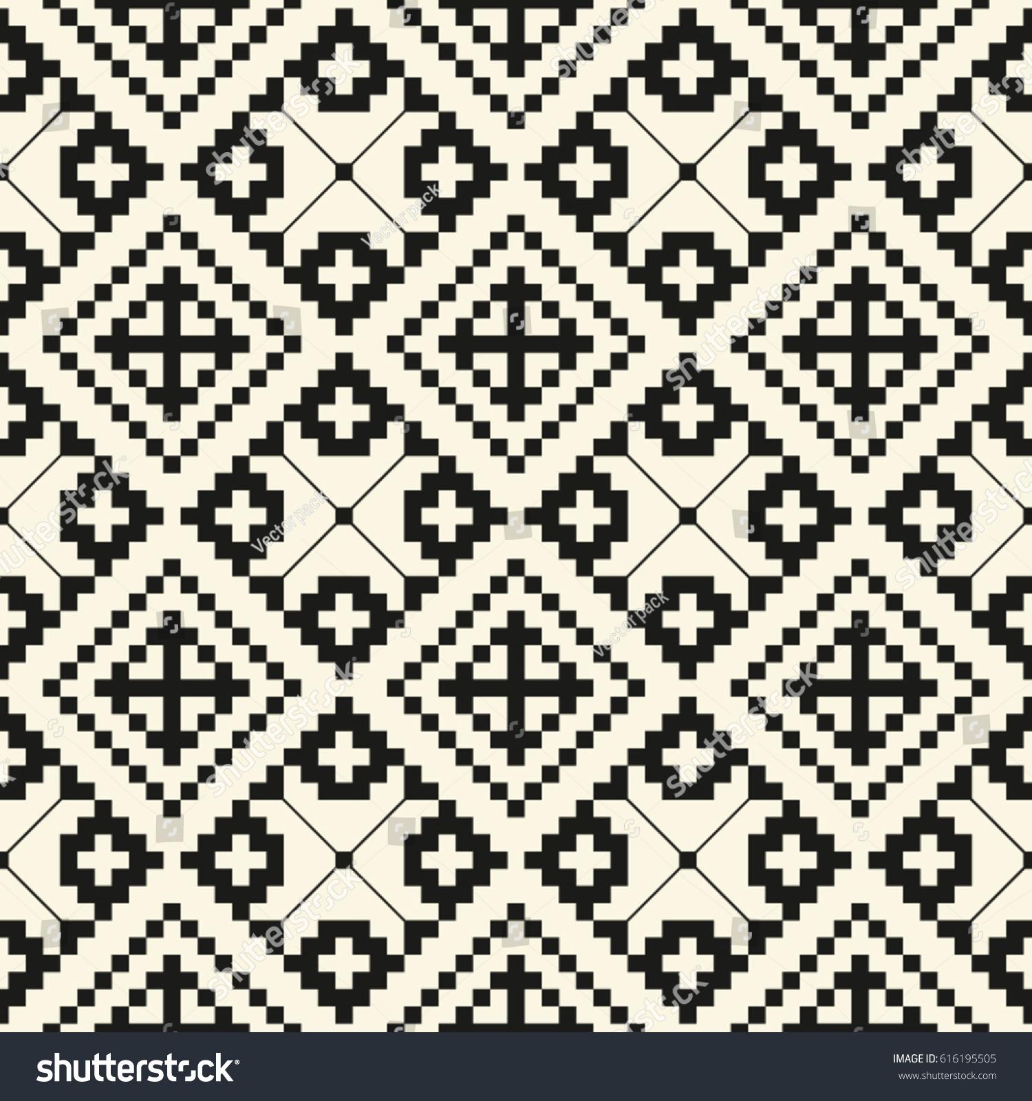 Black Vintage Seamless Pattern Romanian Traditional Stock Vector 616195505 Shutterstock