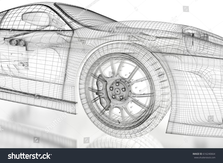 Car Vehicle 3d Blueprint Mesh Model Stock Illustration 616240664 ...