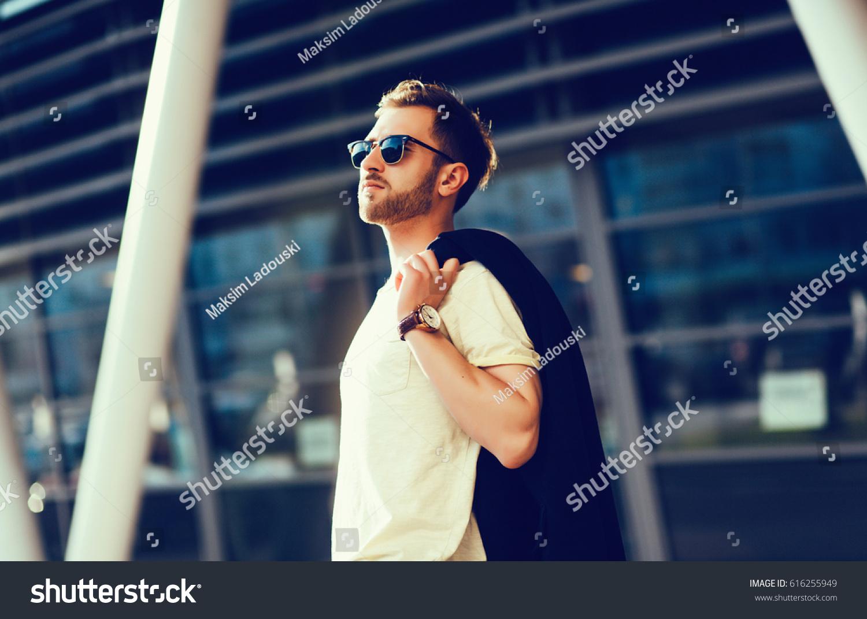 Fashionable Man Urban Setting Stock Photo 616255949 ...