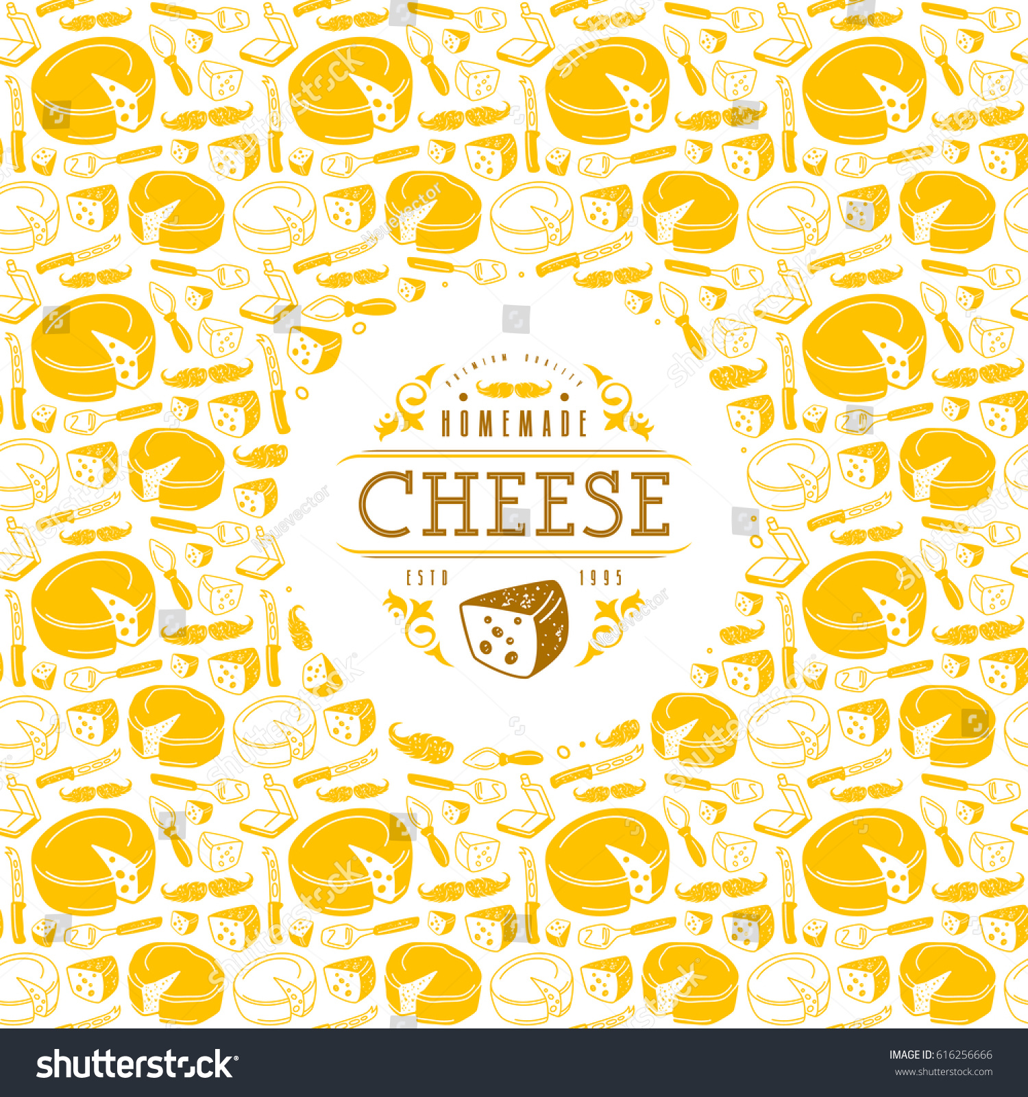 a538ae502a8 Cheese label and frame with pattern. Design in retro style. Color print on  white