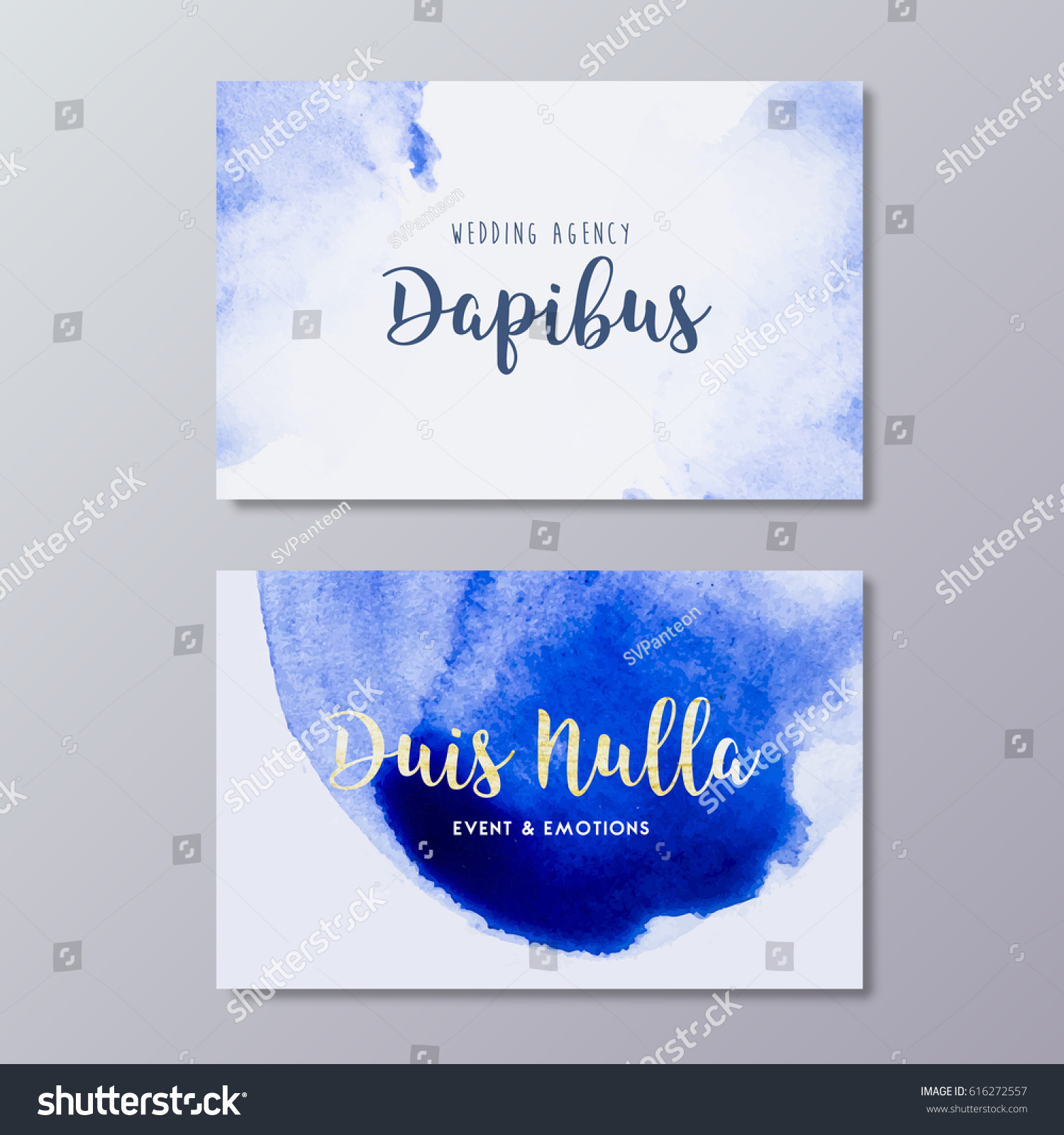Premade wedding photography business card art stock vector premade wedding photography business card art design vector templates hand drawn abstract blue watercolor spot magicingreecefo Images