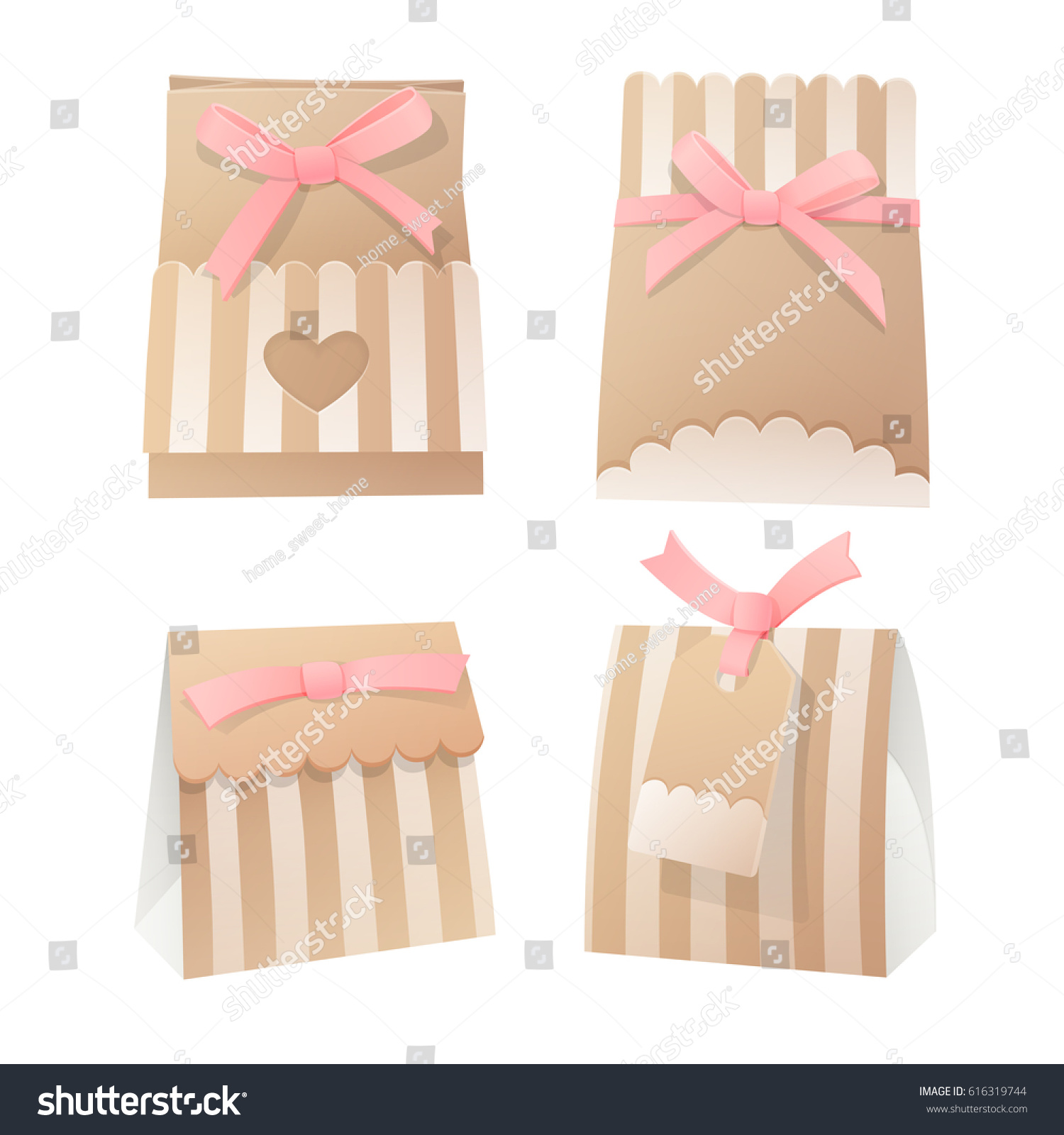 Wedding Party Favor Gift Brown Craft Stock Vector 616319744 ...