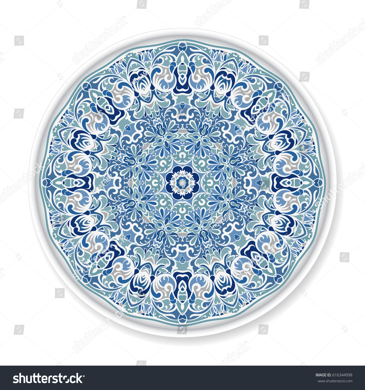 Decorative Plate Round Ornament Ethnic Style Stock Vector