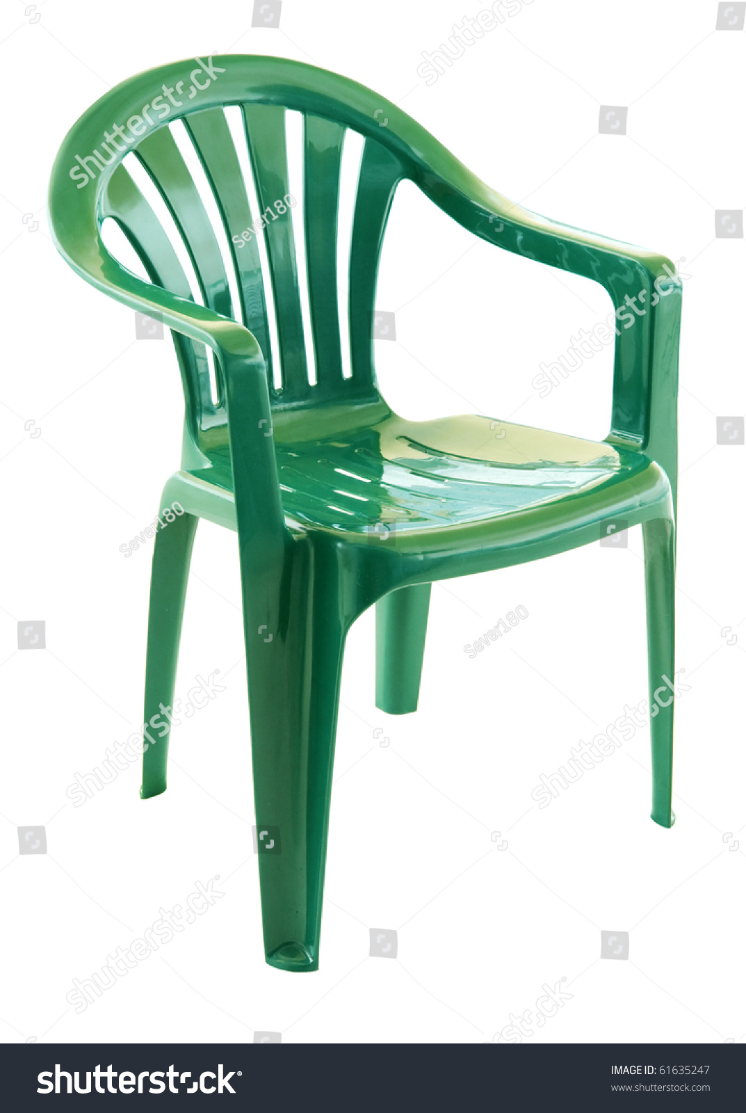 green plastic chair on a white background - Plastic Chair