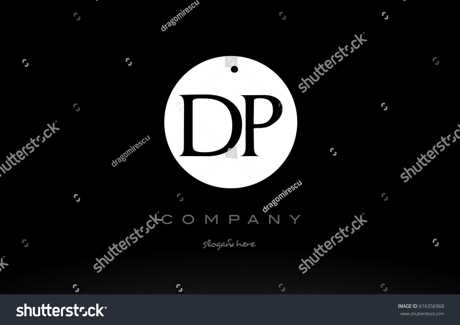 Dp d p simple black white circle background alphabet company logo design vector icon template