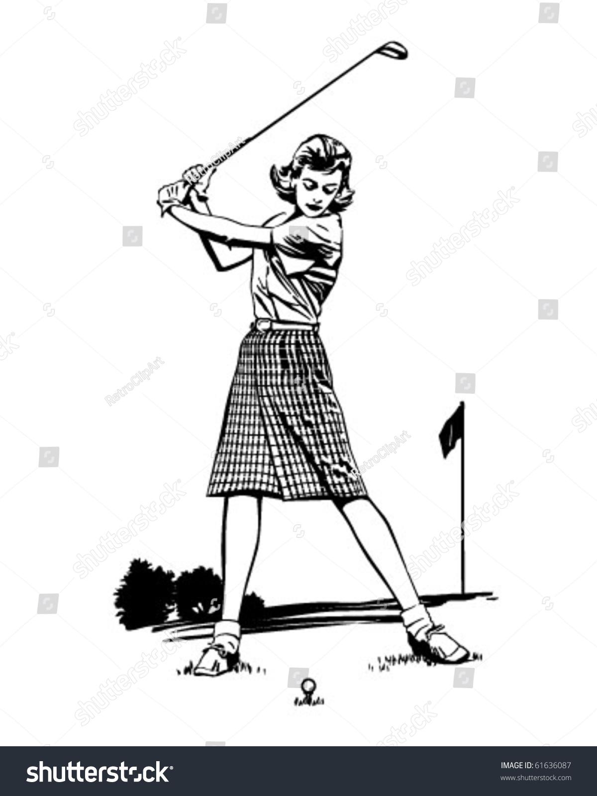 woman golfer 2 retro clip art stock vector 61636087 golf ball tee clip art golf tee box clip art