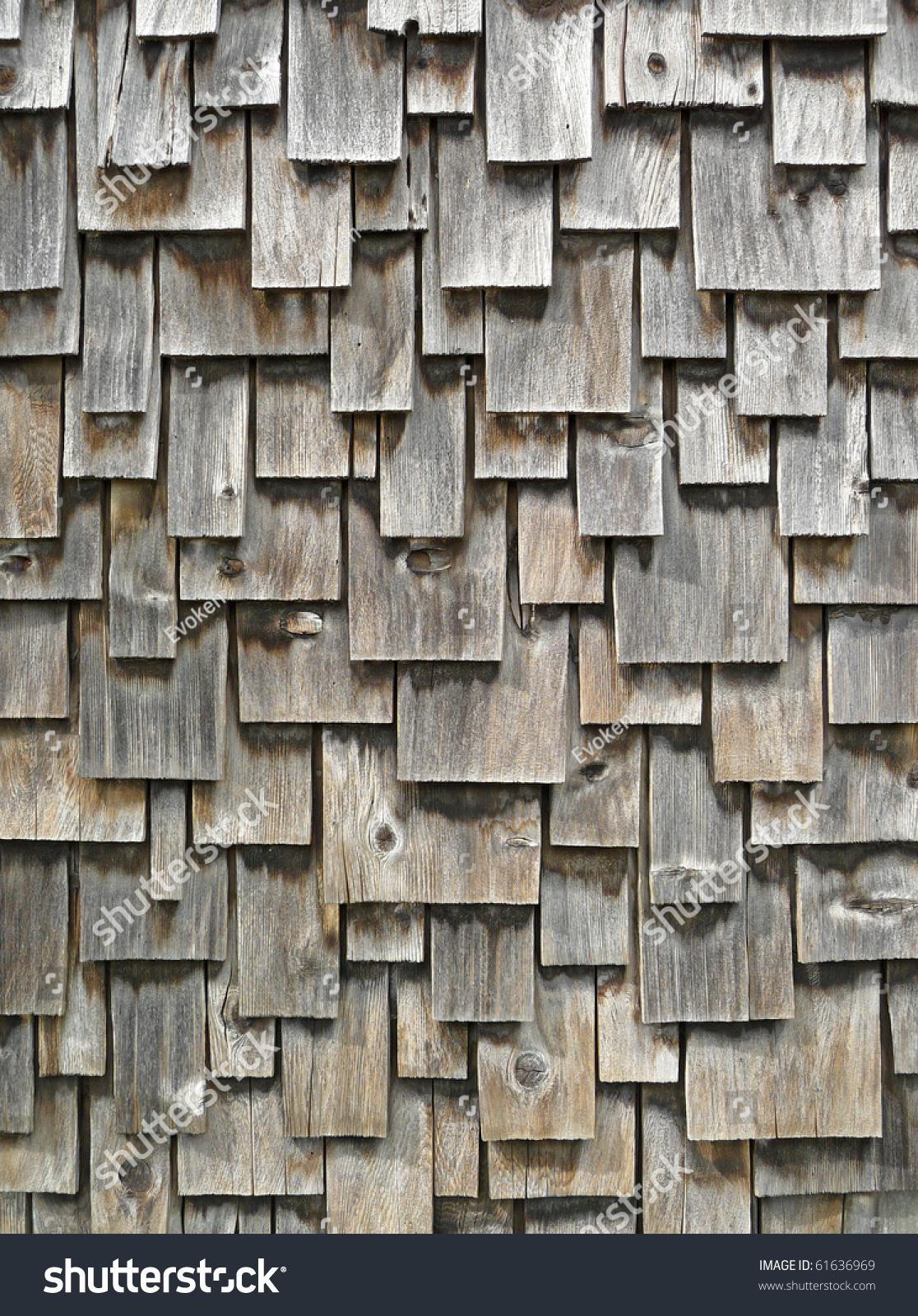 Weathered Cedar Shingle Exterior Siding Stock Photo
