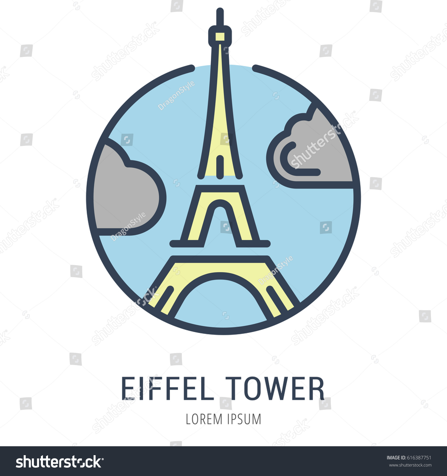 logo label eiffel tower line style stock vector royalty free