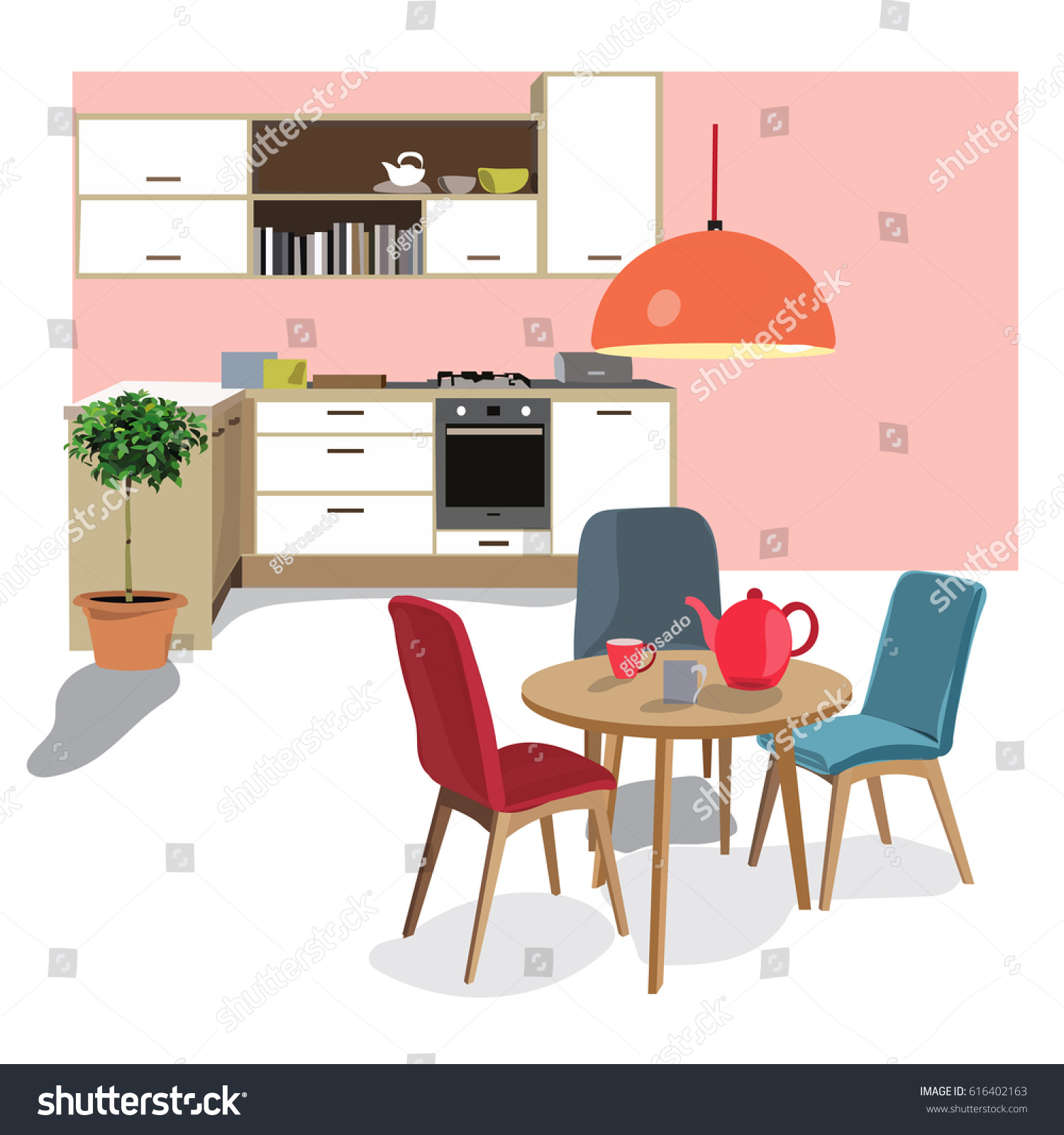 Kitchen Dining Room Illustration Interior Design Home Scenemodern House Chair Table