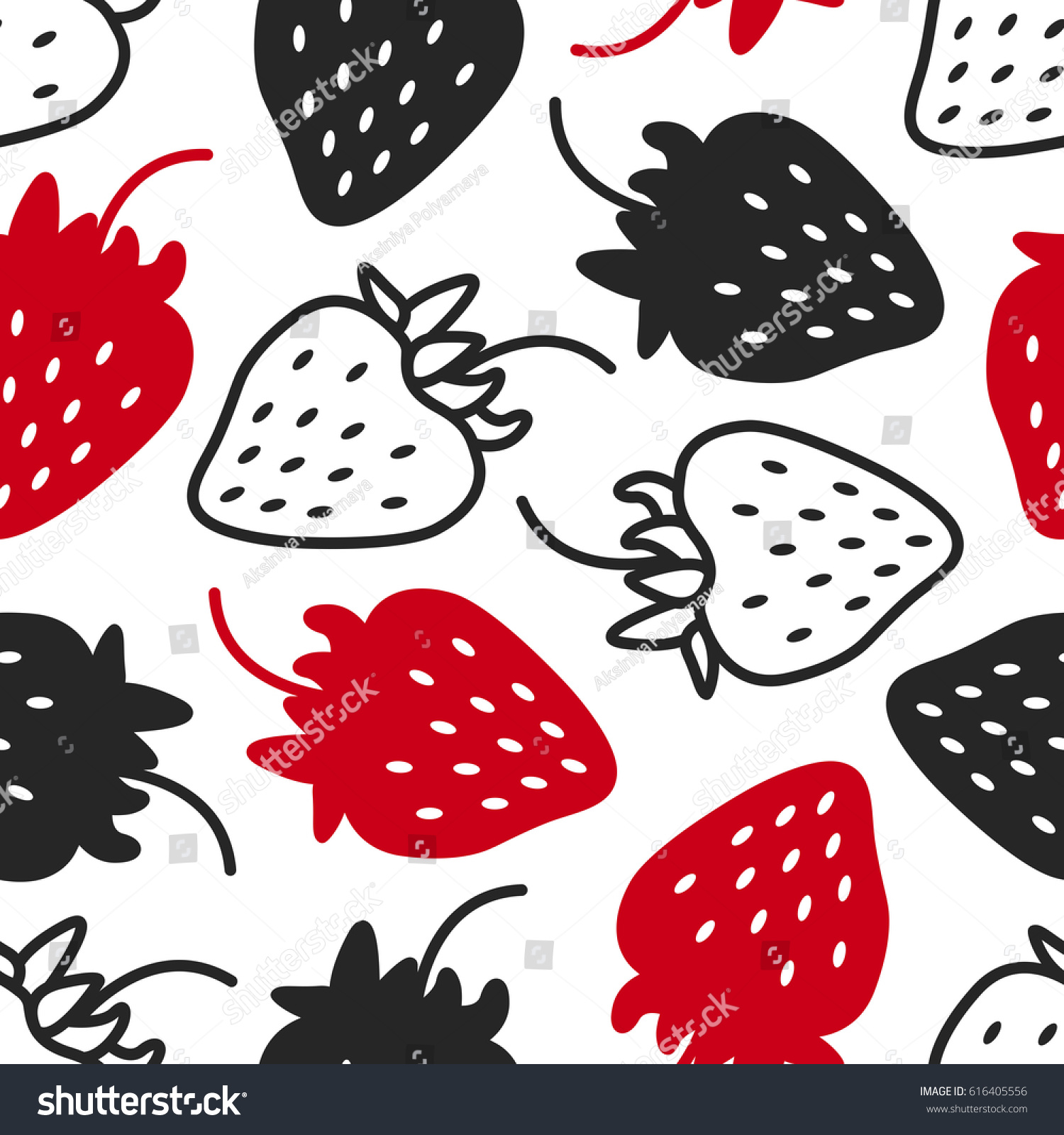 Seamless Pattern Strawberries Contrast Black White Stock Vector ... for Clipart Strawberry Black And White  299kxo