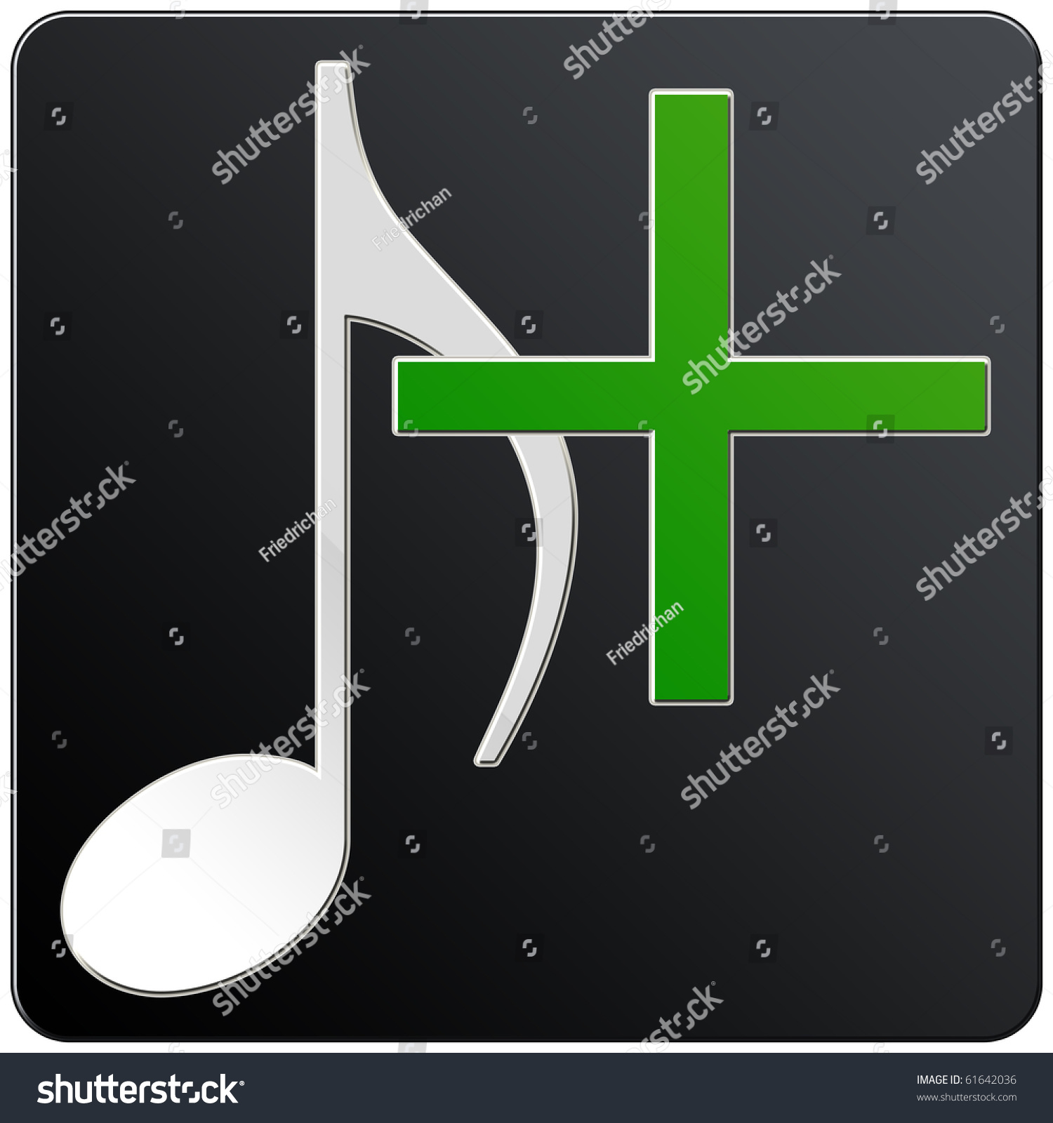 Music Note Icon Add Black Color Stock Illustration 61642036 ...