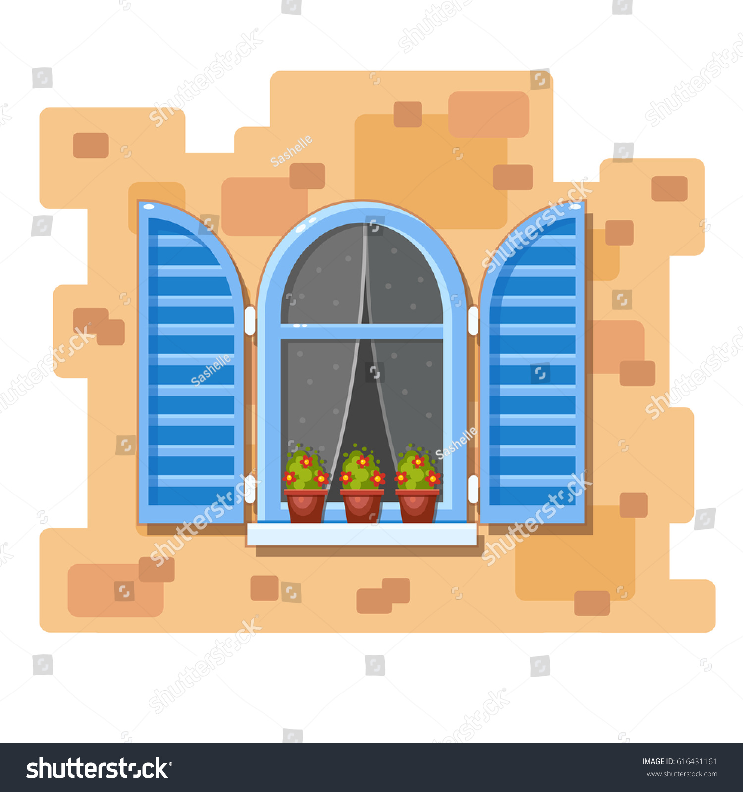 Animated House Windows : Vector arch window blue shutters transparent stock