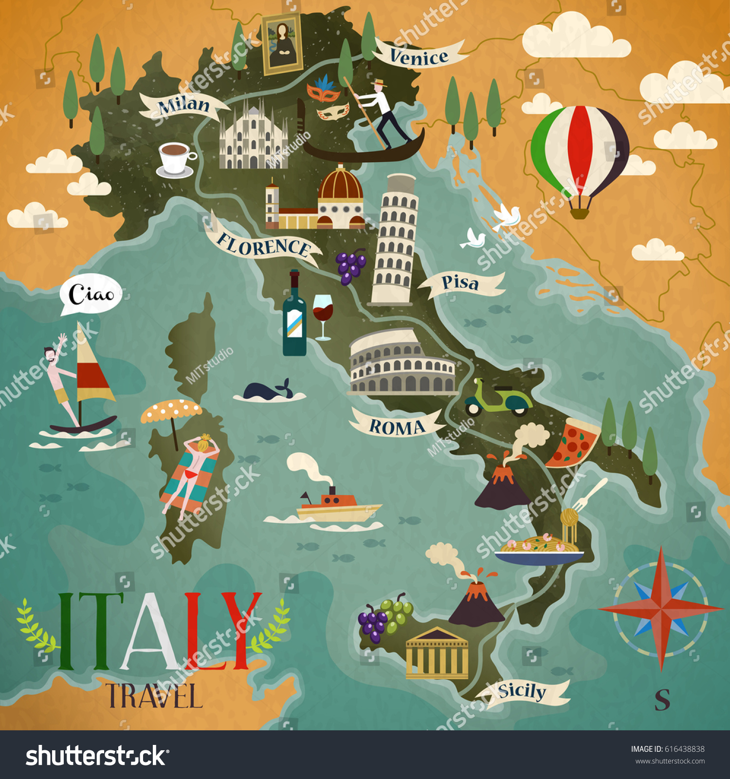 Colorful Italy Travel Map Attraction Symbols Stock Illustration