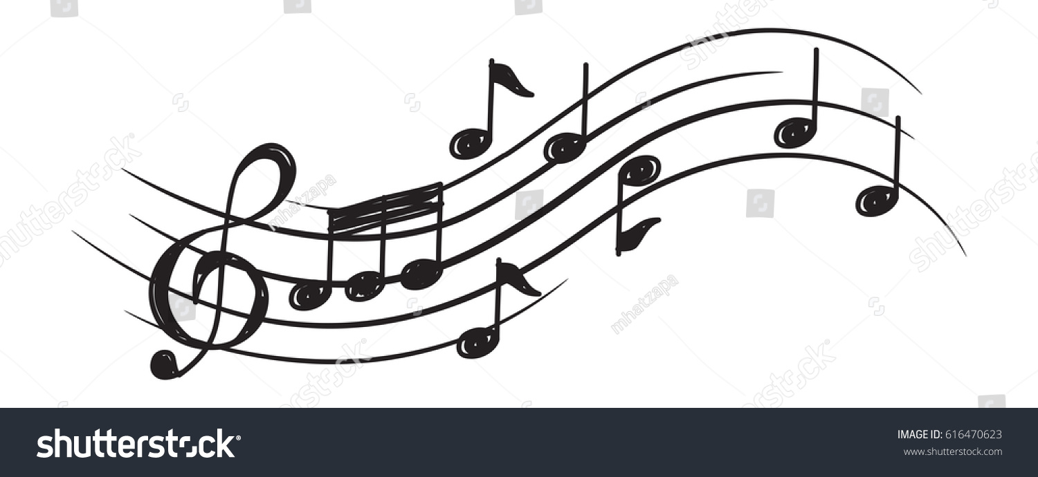 music note design element doodle style stock vector 616470623