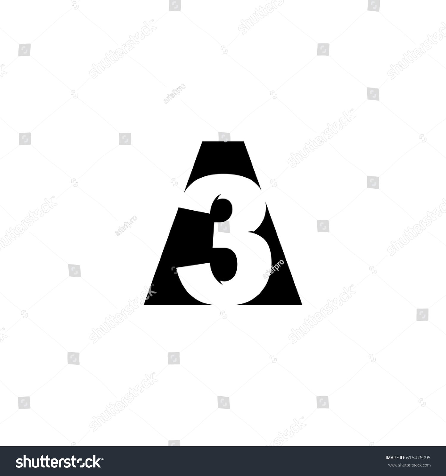 initial letter number logo 3 a3 stock vector 616476095 shutterstock
