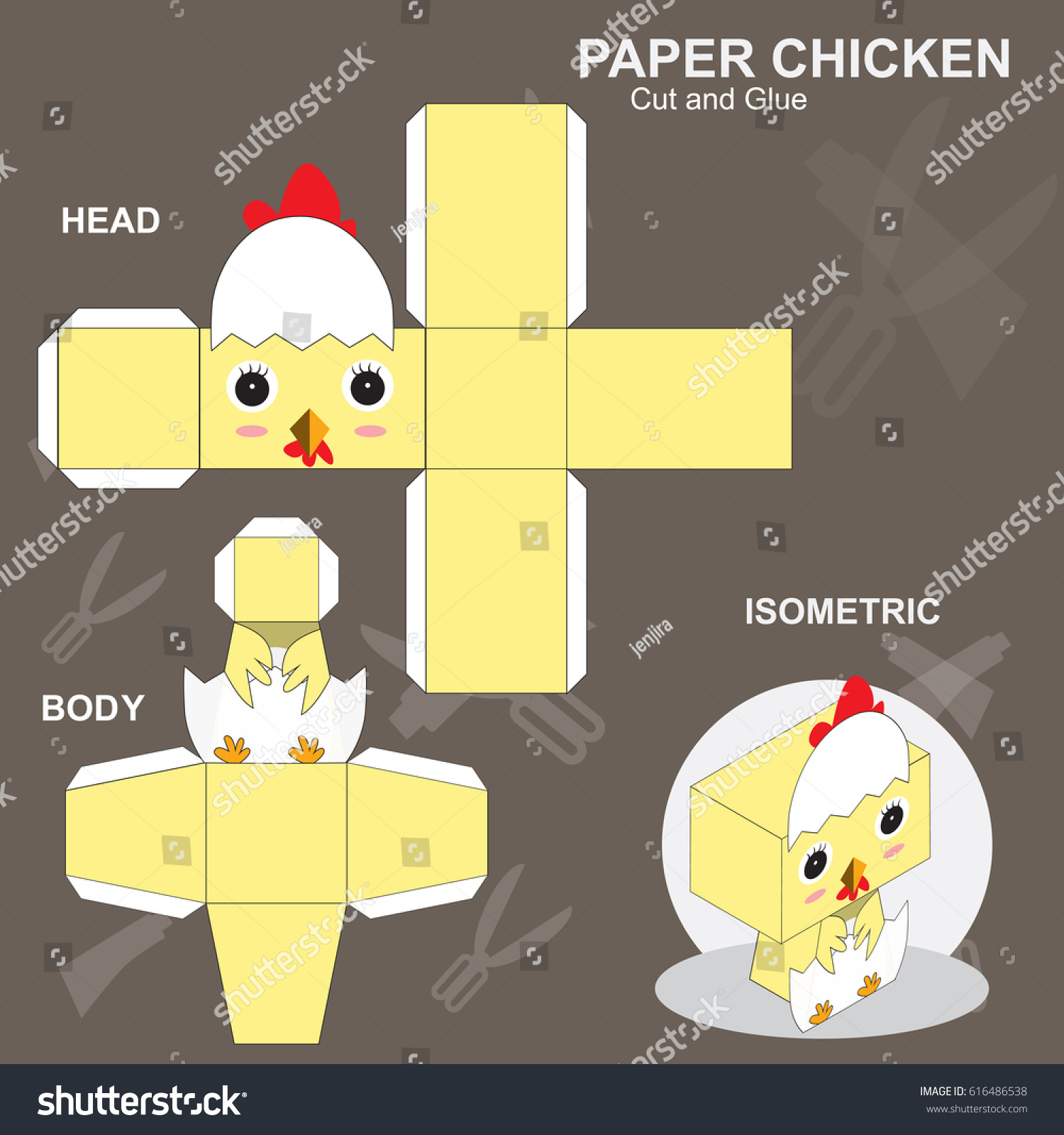 Chicken Paper Craft Template Stock Vector Royalty Free 616486538