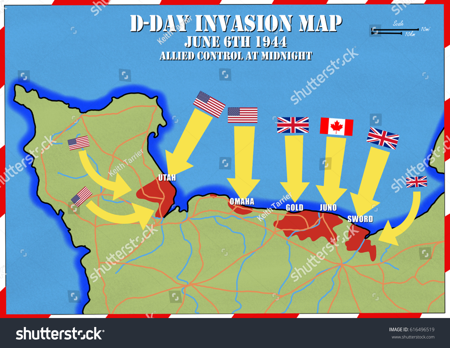 Original hand drawn map extent allied ilustracin de stock616496519 original hand drawn map extent of allied control at mid night d day gumiabroncs Images