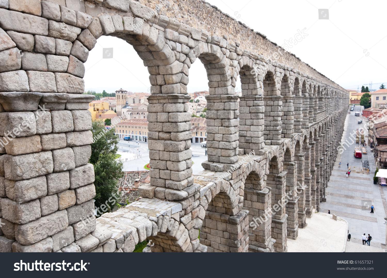 roman aqueduct bridge segovia spain built stock photo 61657321