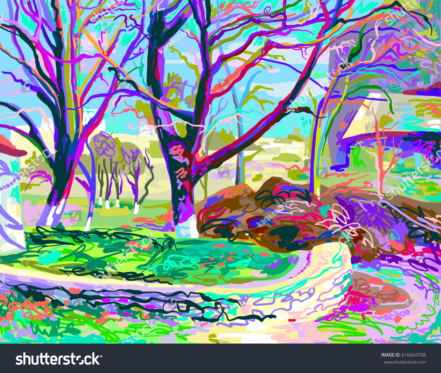 digital painting natural village landscape contemporary stock vector