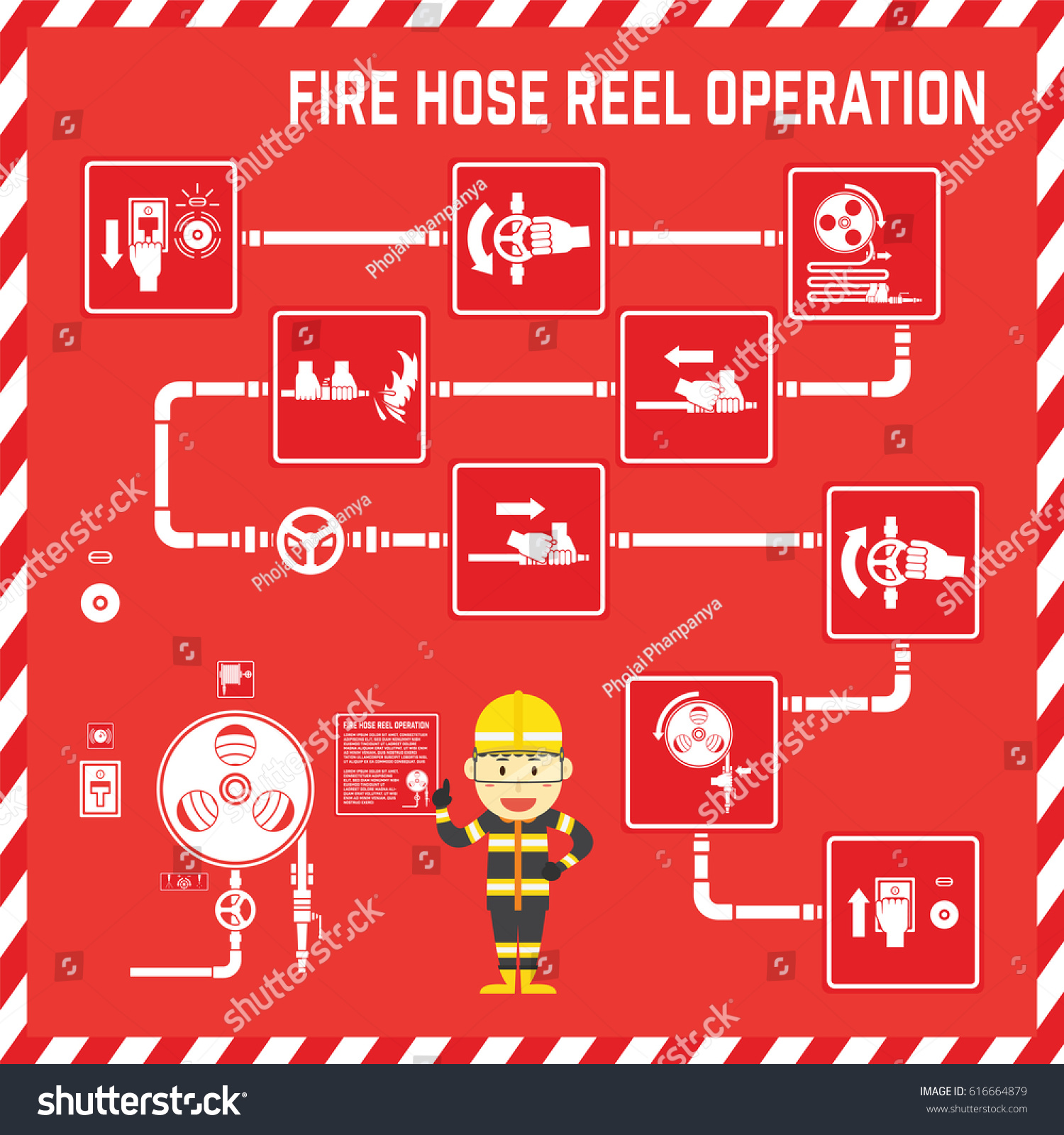 Set signs symbols fire hose reel stock vector 616664879 shutterstock set of signs and symbols of fire hose reel operation with cute fire fighter cartoon buycottarizona Images