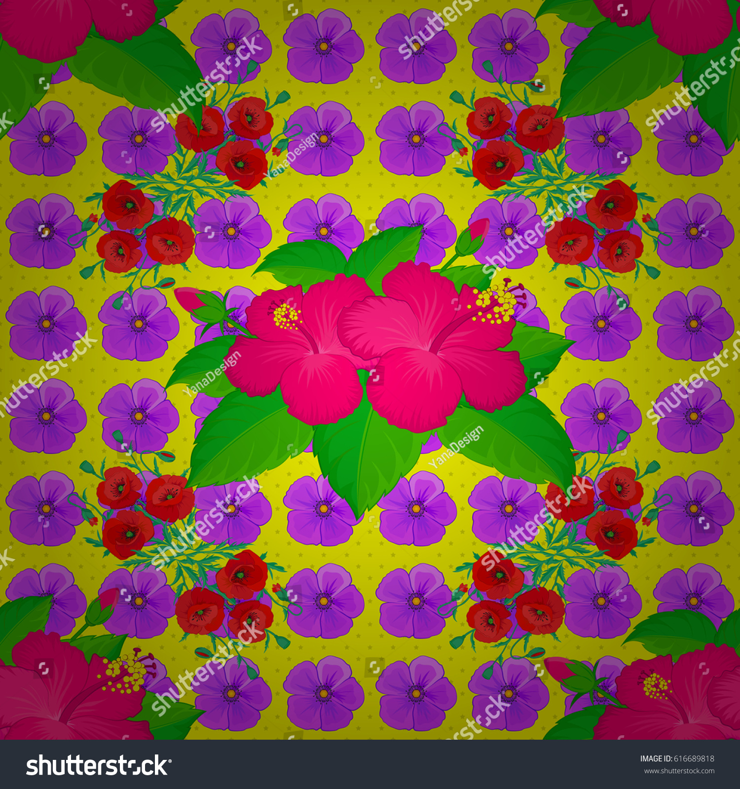 Seamless Background Pattern Decorative Hibiscus Flowers Stock Vector Royalty Free 616689818
