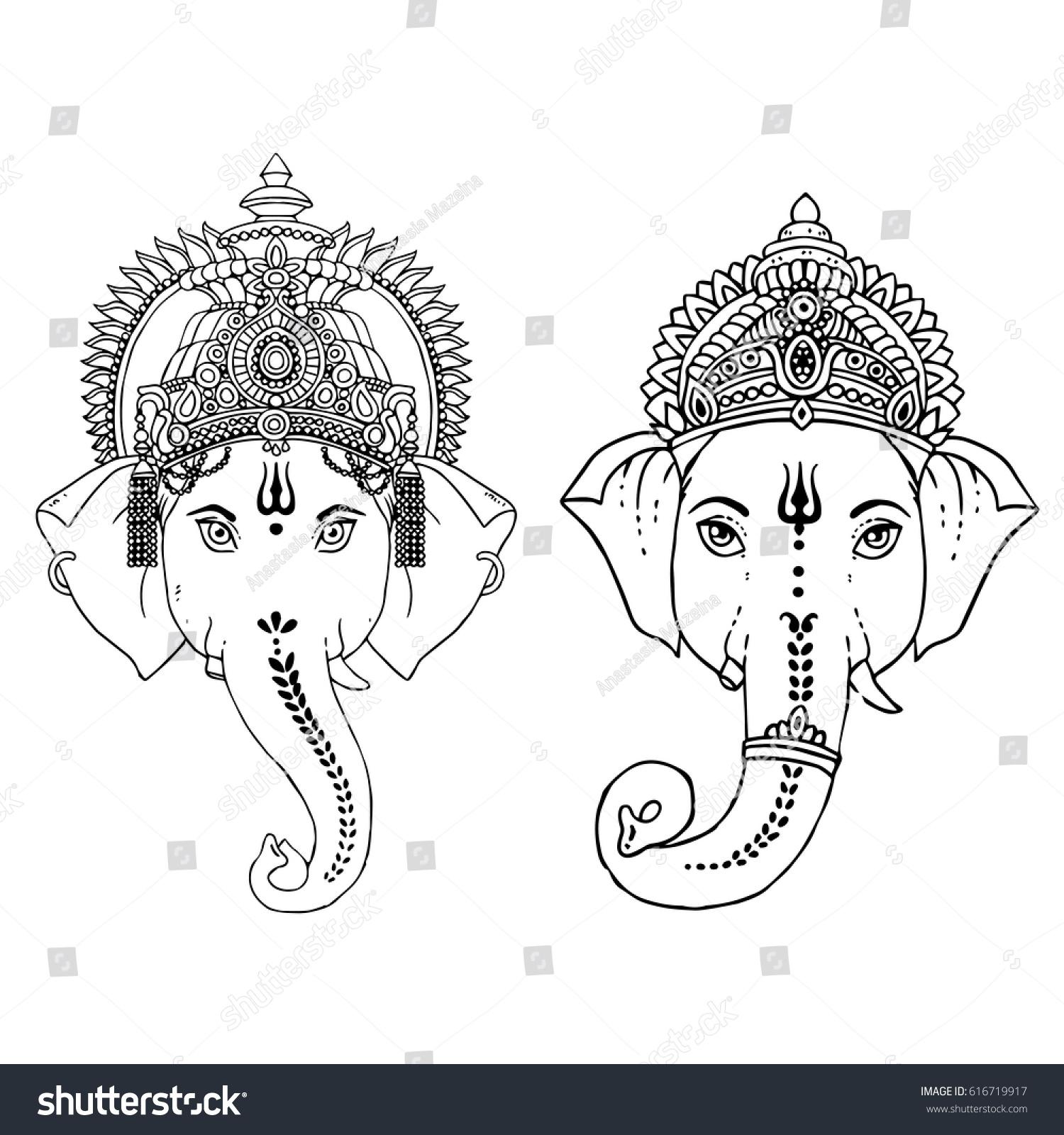 Head Hindu Lord Ganesha Vector Illustration Vector de stock616719917 ...
