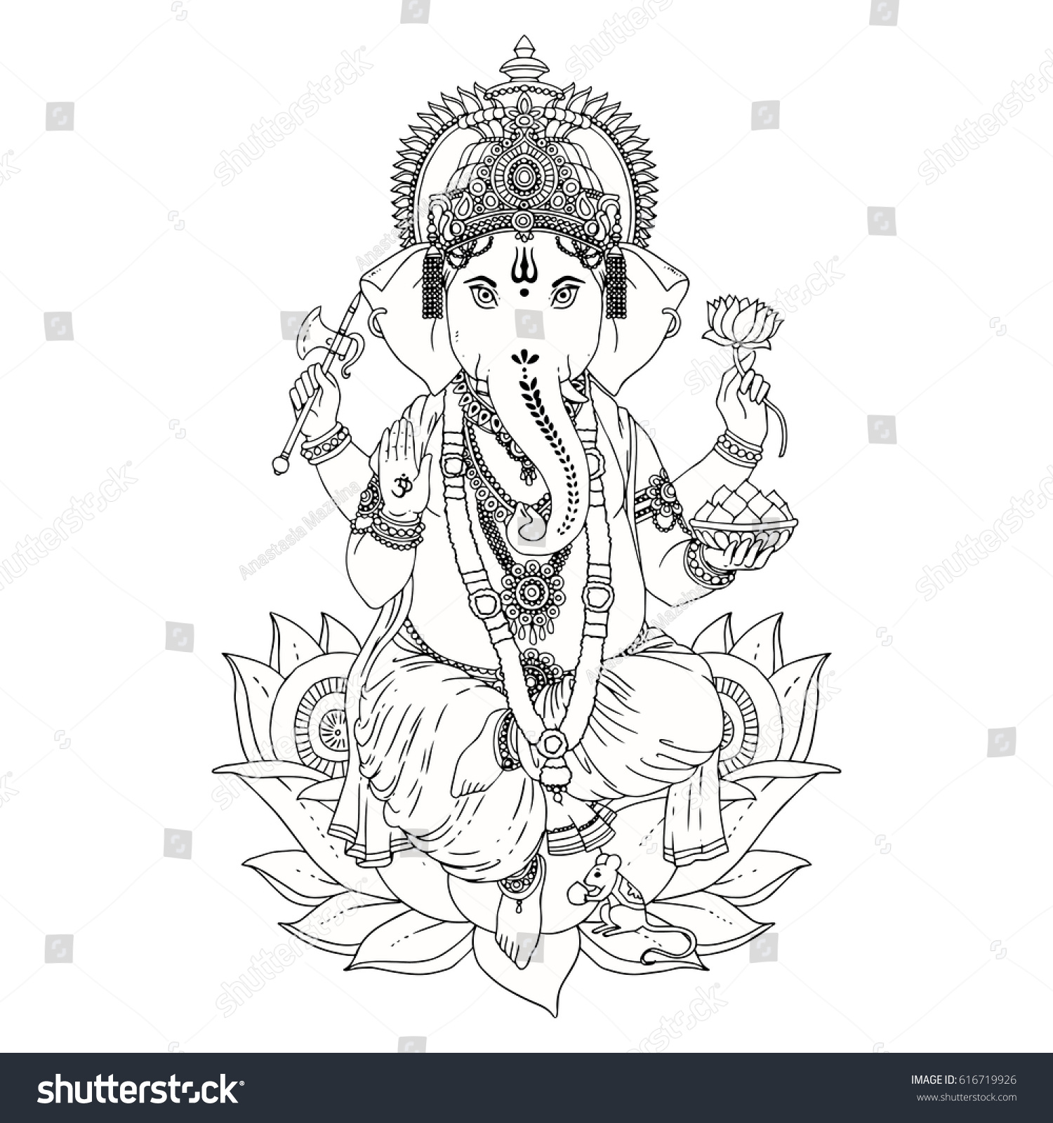 Dancing Hindu Lord Ganesha Vector Illustration Vector de ...