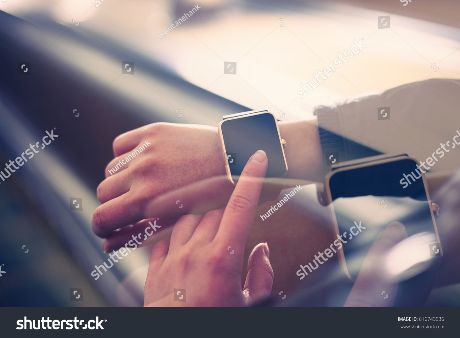 Young Girl Use Modern Smart Watches Stock Photo 616743536 ...