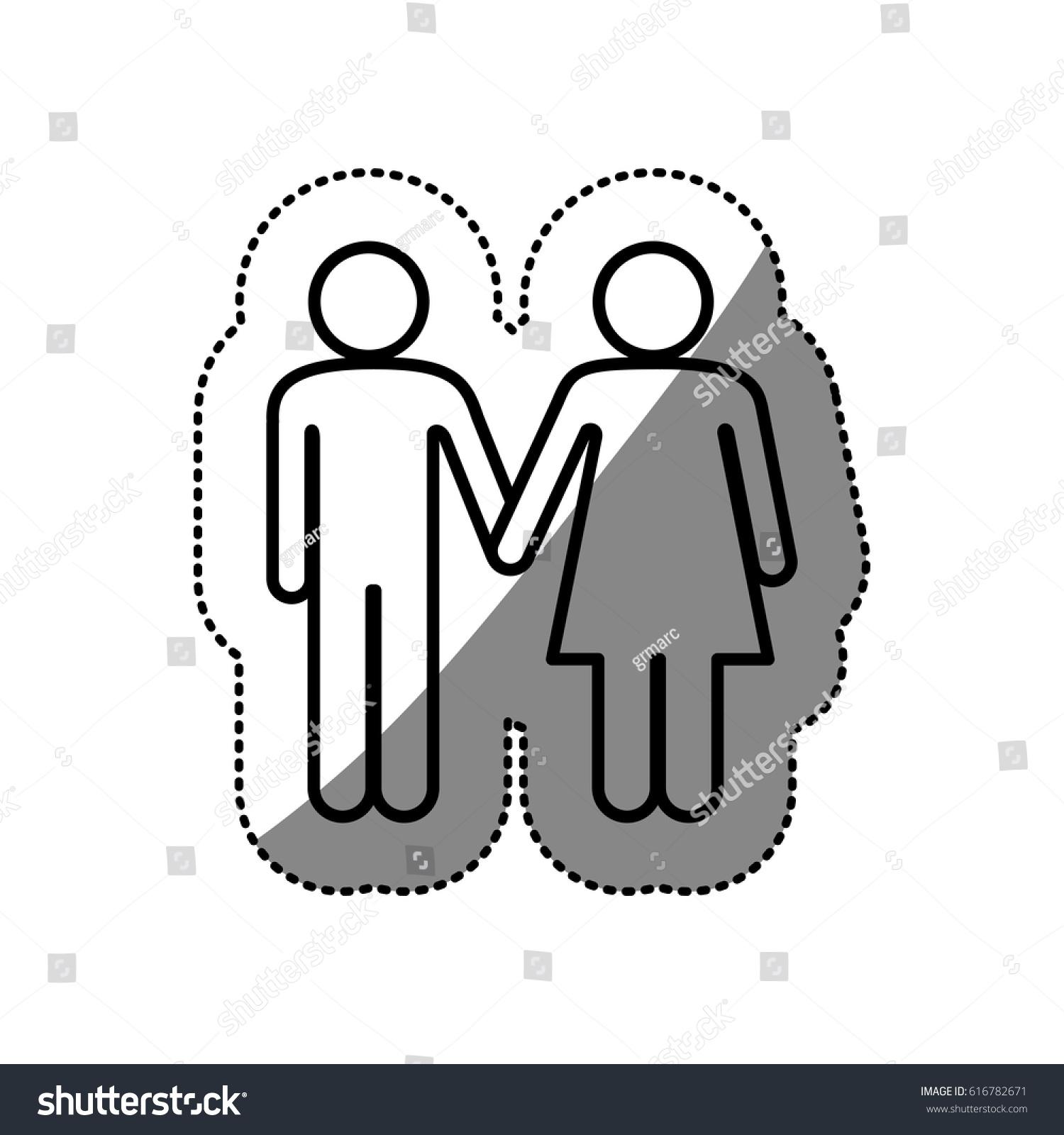 Sticker Silhouette Pictogram Silhouette Couple Holding Stock ... for Couple Sticker Line  34eri