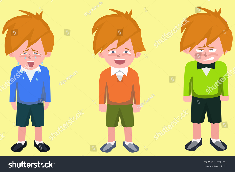 Funny Cartoon Images Of Boys cartoon boys different emotions sad happy stock vector