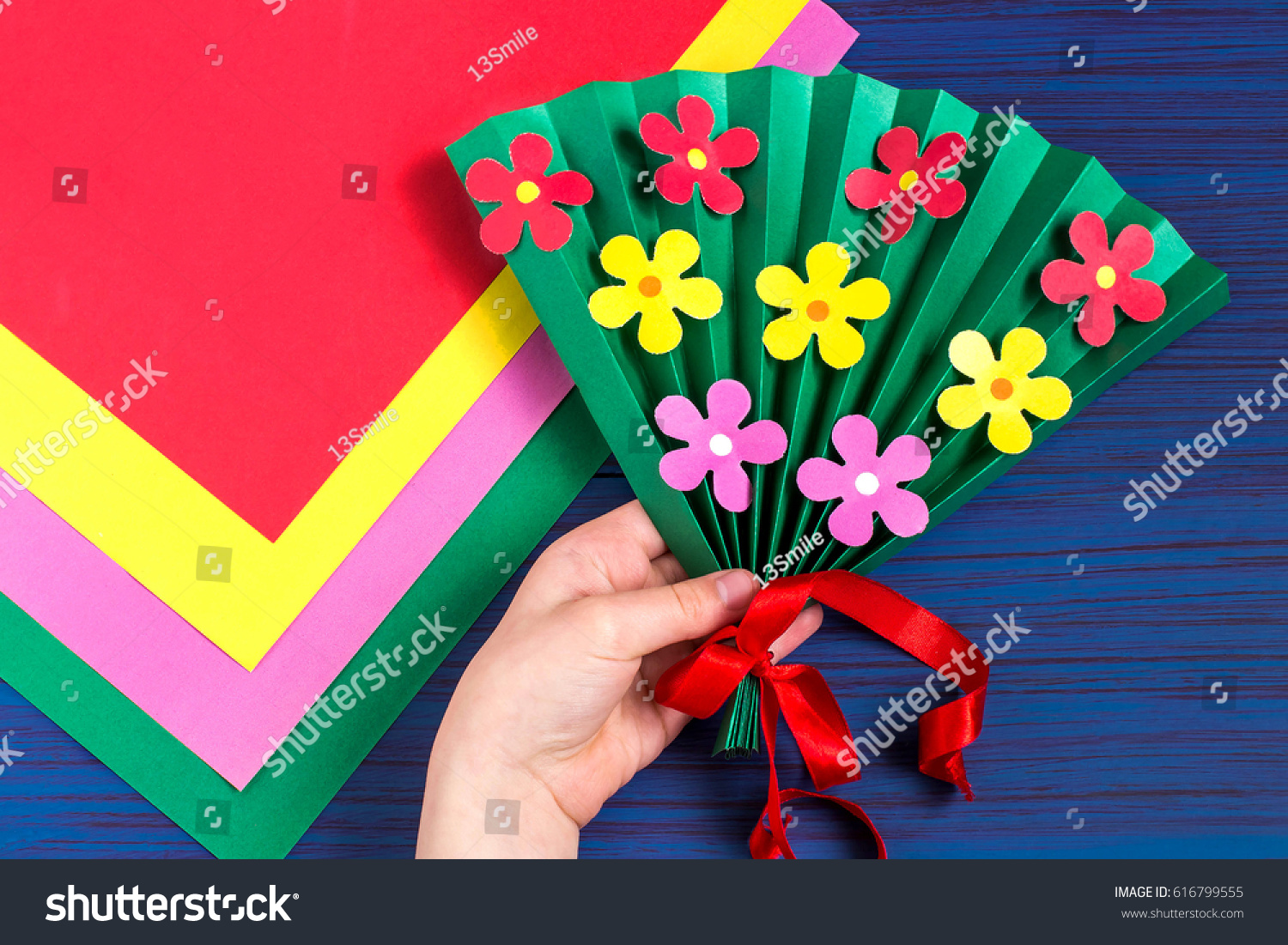 Making Gift Mothers Day By Child Stock Photo Edit Now 616799555