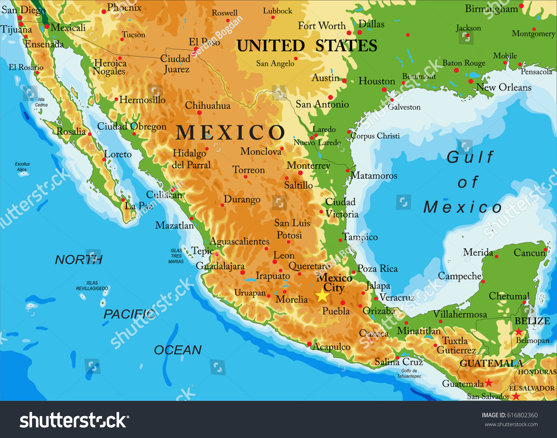 Monclova Mexico Map.Mexicorelief Map Stock Vector Royalty Free 616802360 Shutterstock