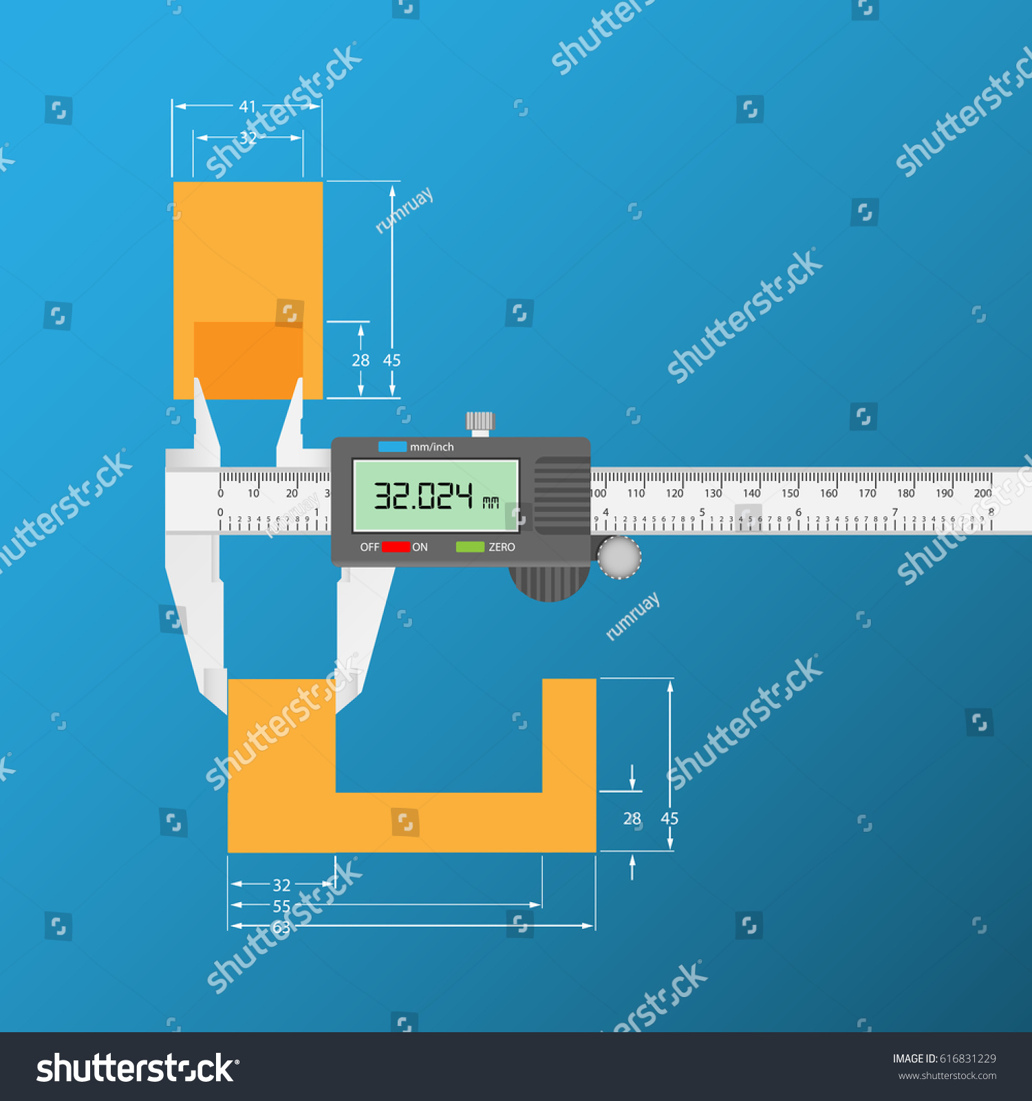 measurement with vernier caliper