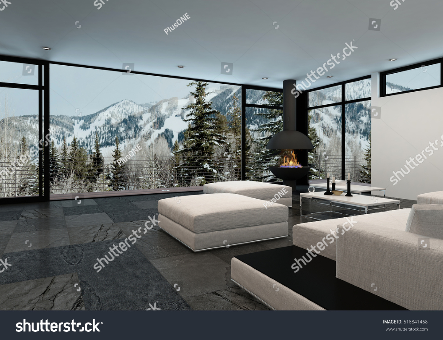 Minimalist luxury home interior mountains large stock for Luxury minimalist house