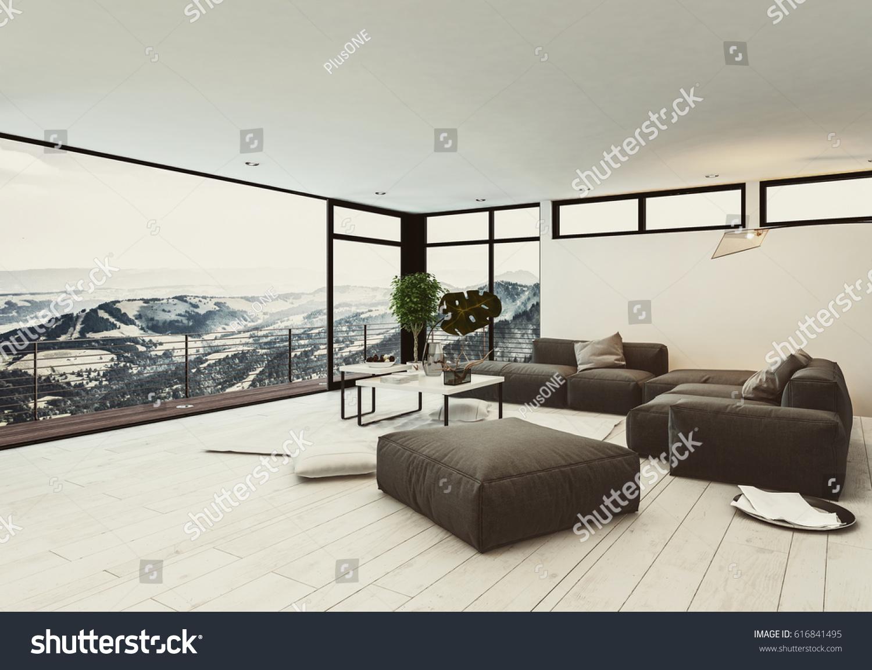 View spacious room hotel penthouse minimalist stockillustration