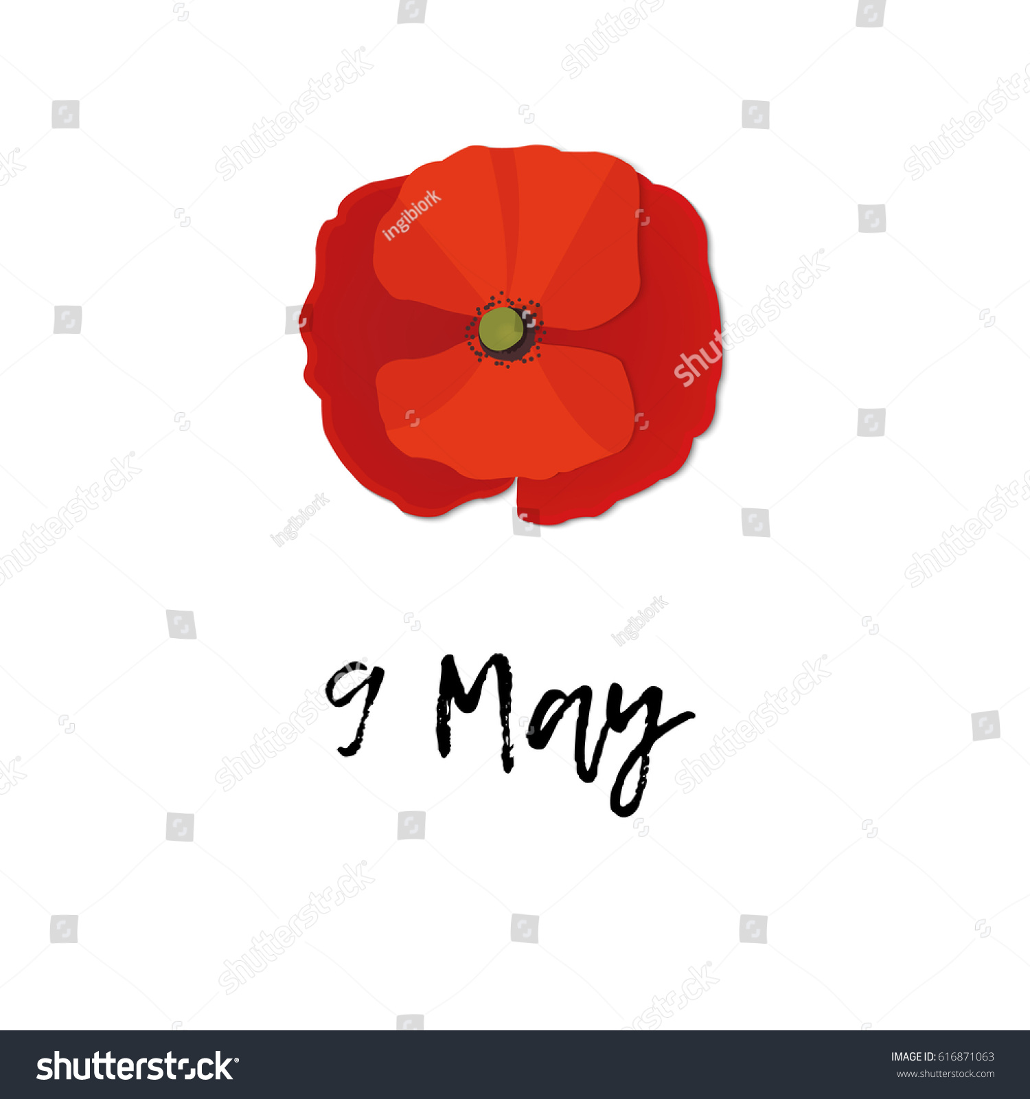 Red poppy flat vector banner 9 stock vector 616871063 shutterstock red poppy flat vector banner 9 may stylized flower symbol stock vector buycottarizona