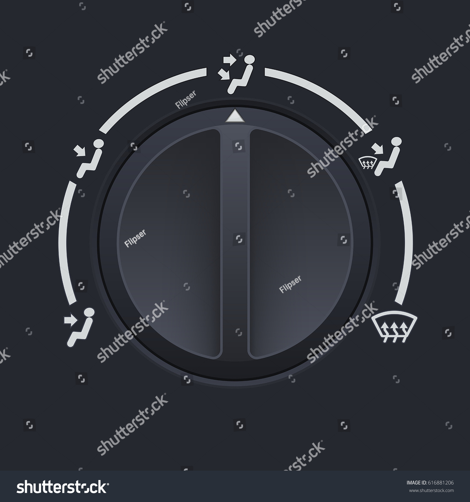 Car Dashboard Black Switch Air Flow Stock Vector 616881206 ...