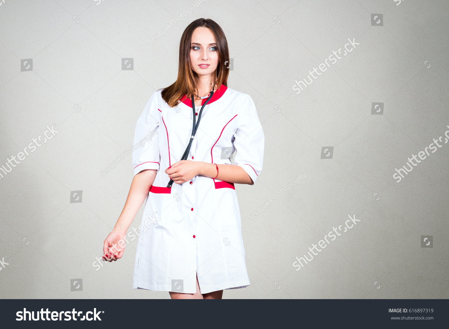 Woman Girl Nurse Doctor Medical Gown Stock Photo & Image (Royalty ...