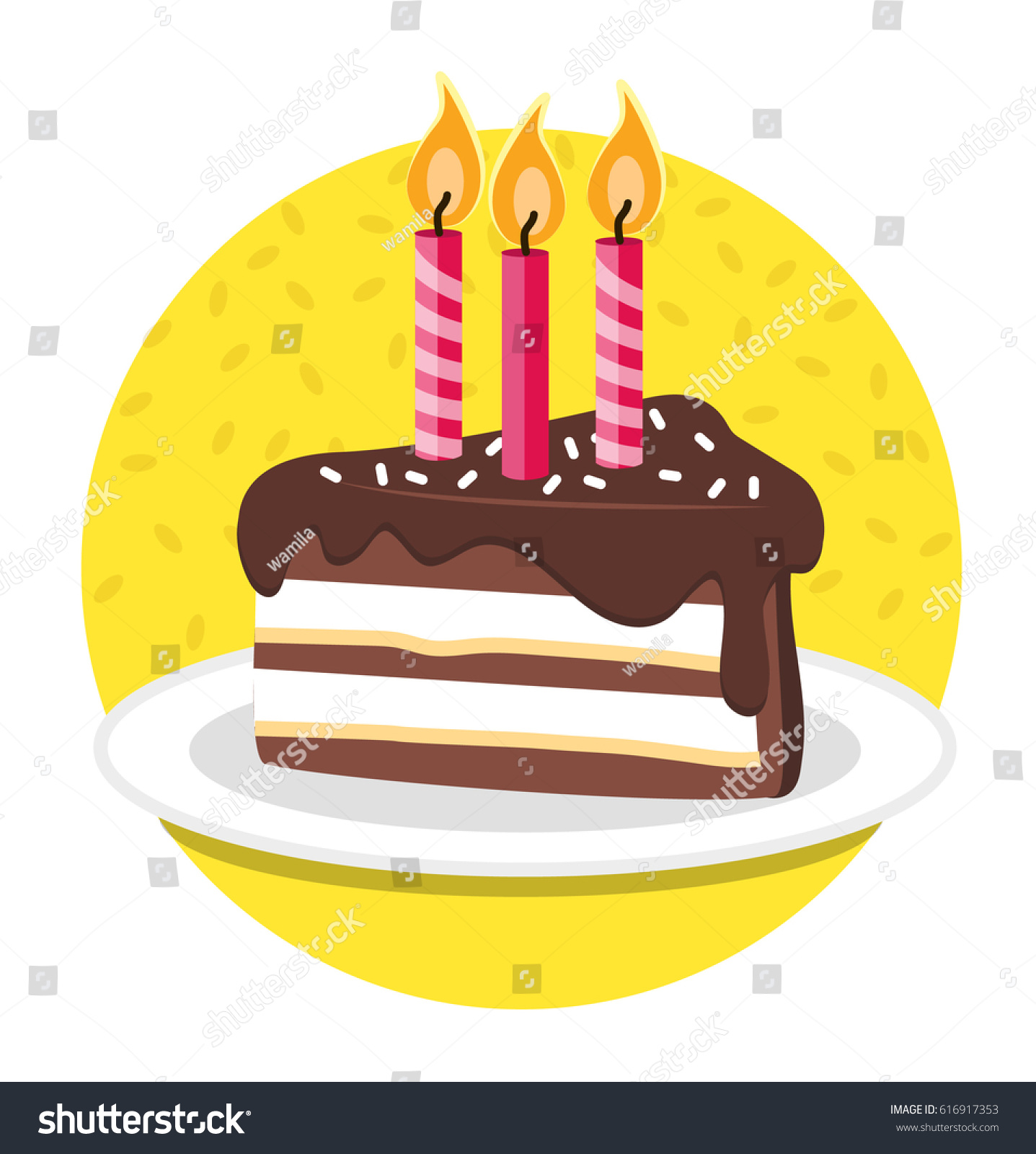 Happy Birthday Slice Birthday Cake Vector Stock Vector Royalty Free
