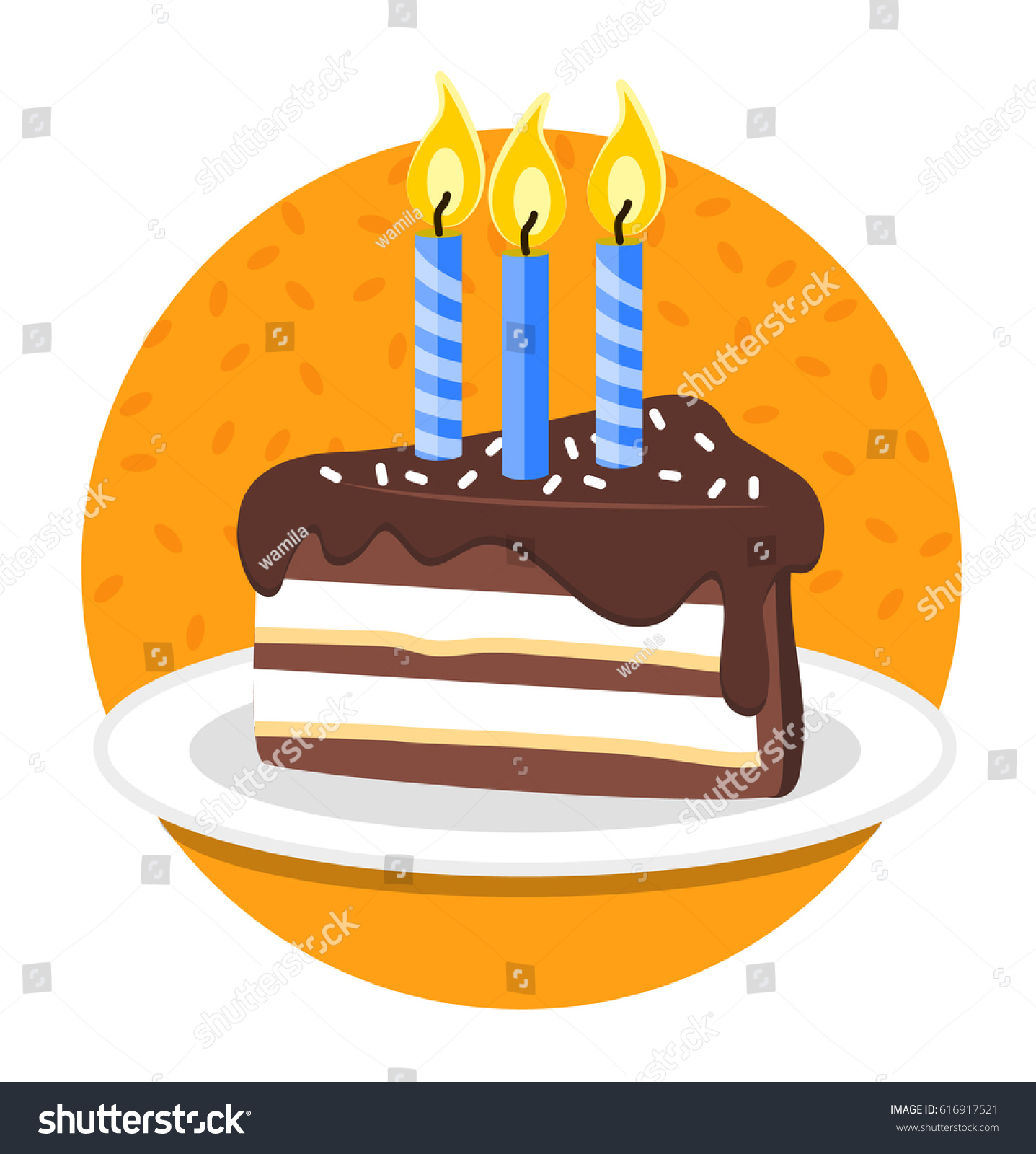 Happy Birthday Slice Birthday Cake Vector Stock Vector 616917521
