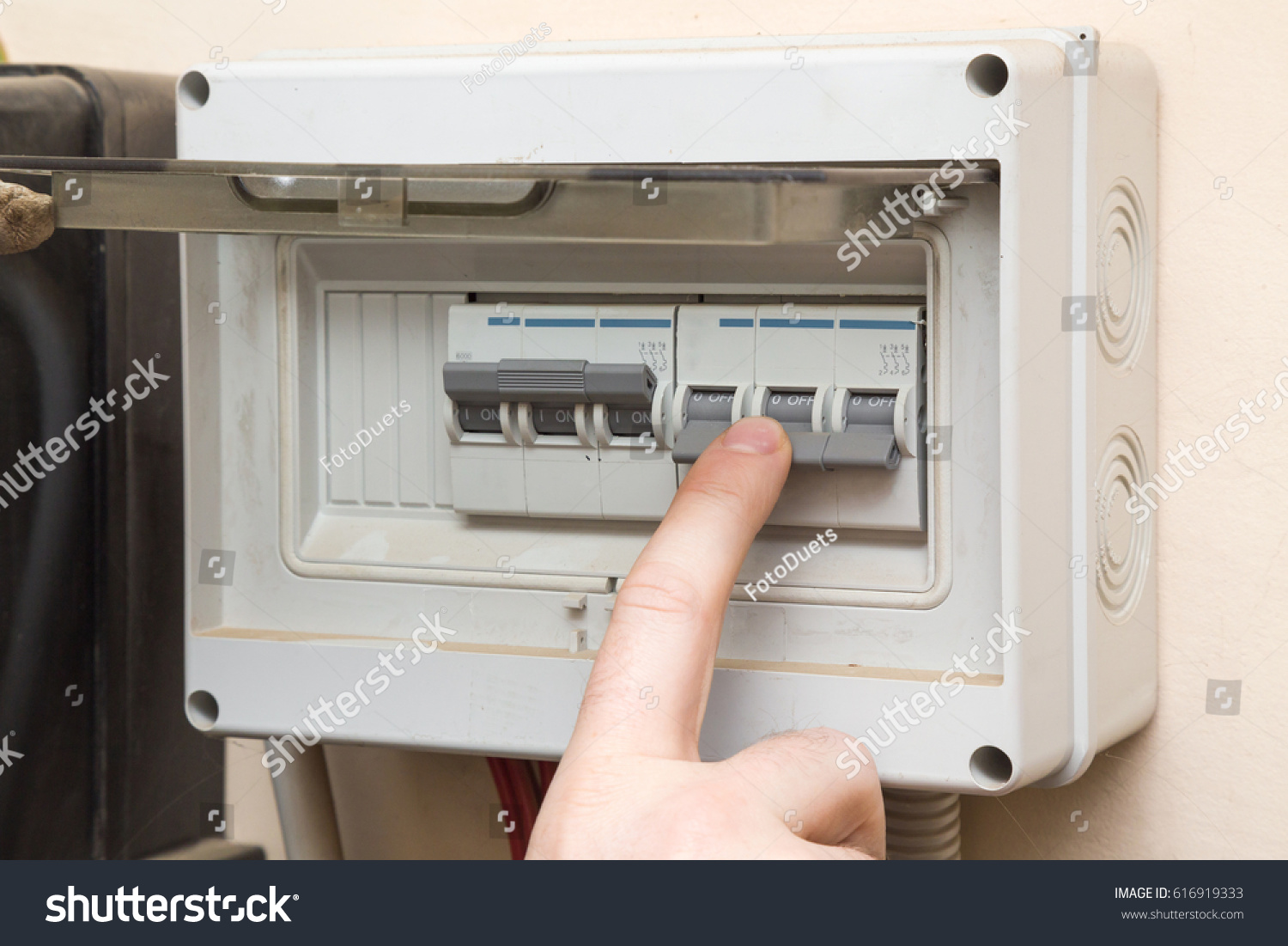 Fuse Box Man Wire Data Schema 2006 Ford Freestyle Mans Finger Checking Electricity Stock Photo Edit Now Rh Shutterstock Com Manual For A F350 Transfer Switch