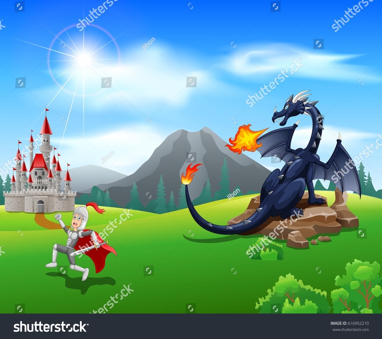 cartoon knight fierce dragon vector illustration stock vector
