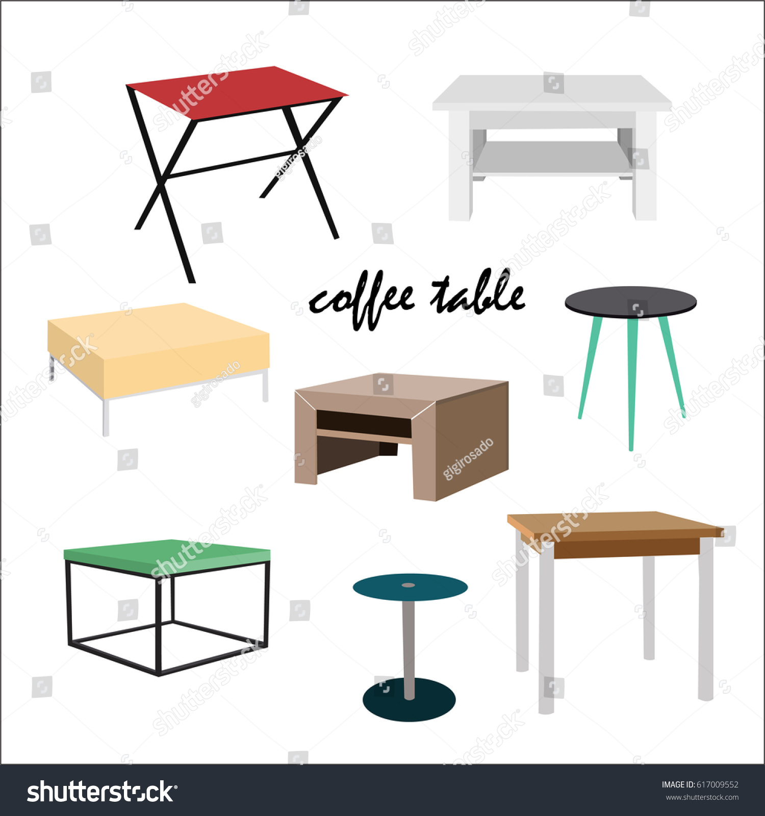 Coffee Tables Different Styles Colors Danish Stock Vector