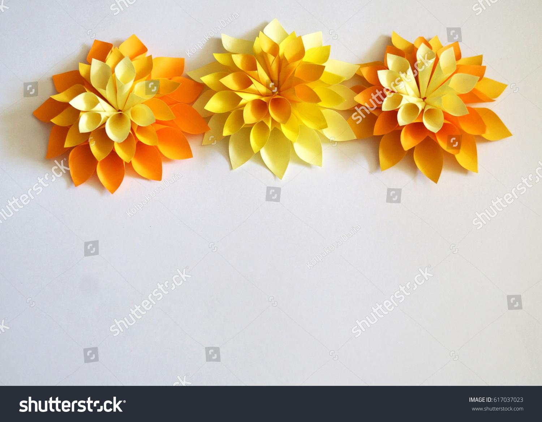Dimensional Paper Flower Handmade Hobby White Stock Photo Image