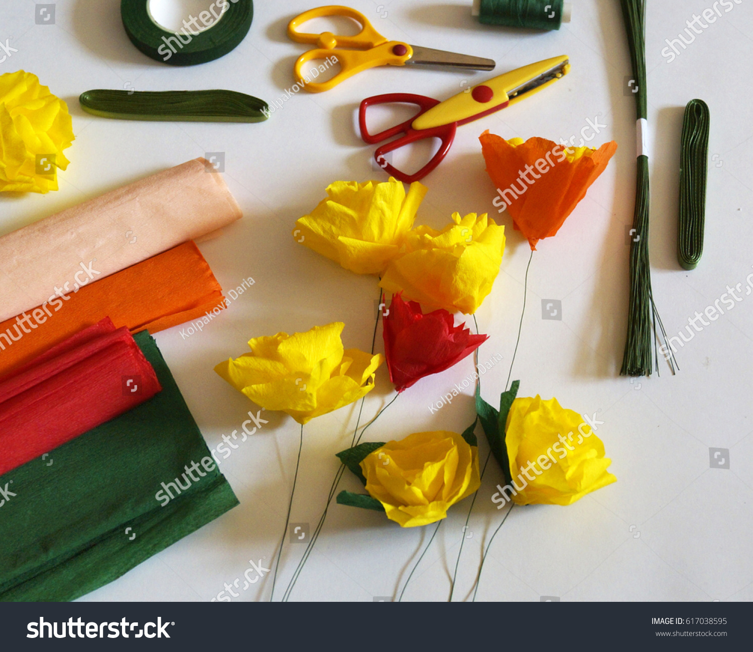Materials Create Flowers Out Paper Handmade Stock Photo Royalty