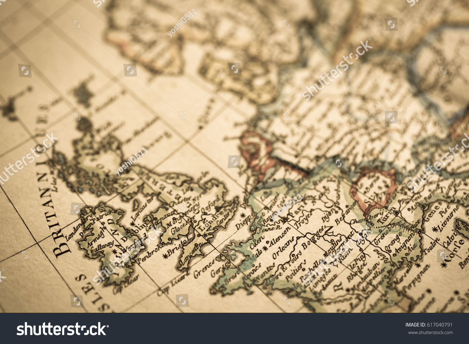 Antique world map england france stock photo royalty free antique world map england and france gumiabroncs Images