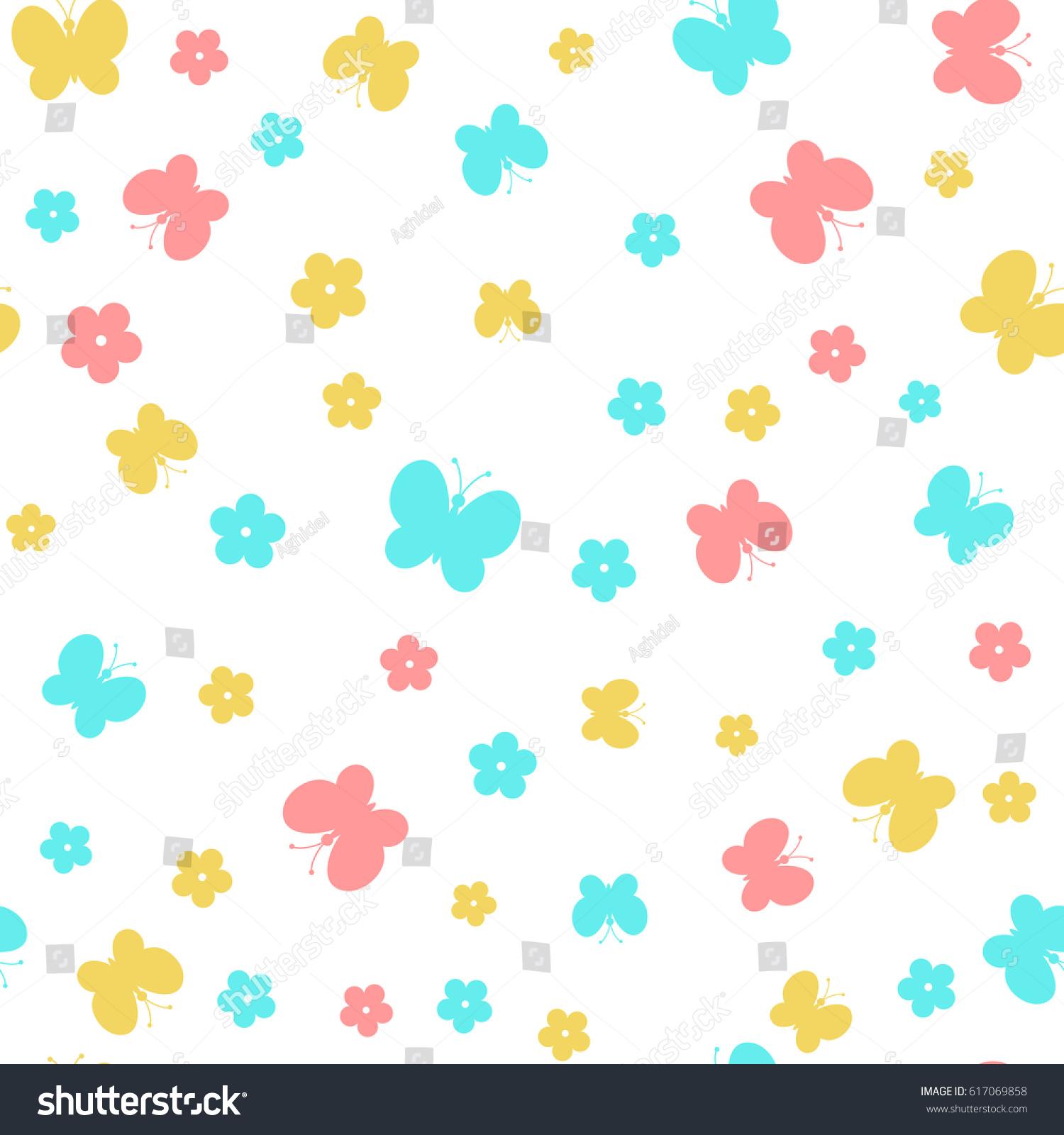 butterflies flowers simple baby background vector stock vector